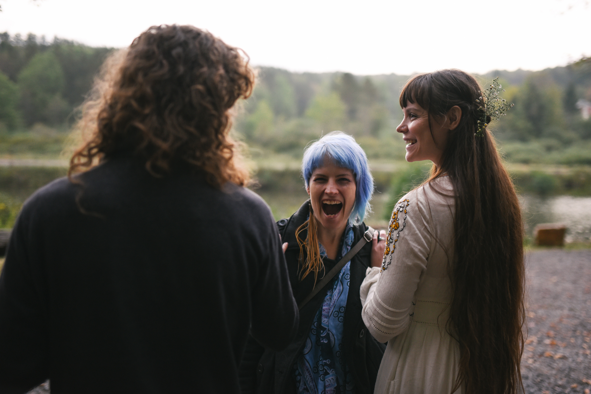 Mountain Wedding, Outdoors, Rustic, West Virginia, Maryland Wedding Photographer, DIY, Casual, friends laughing with bride