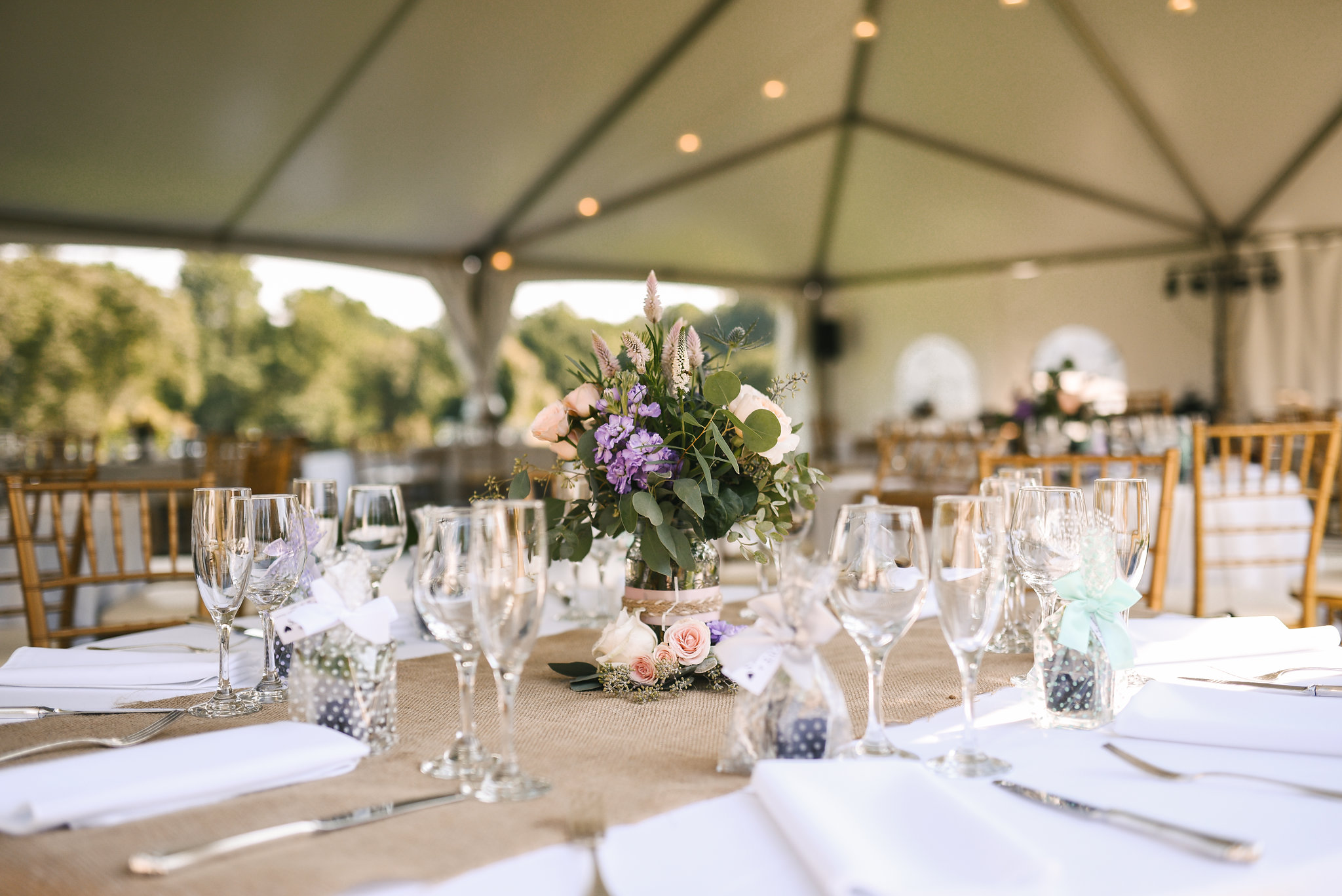 Maryland, Eastern Shore, Baltimore Wedding Photographer, Romantic, Boho, Backyard Wedding, Nature, White and Purple Flowers with Succulents, Michael Designs Florist, Table Settings at Reception