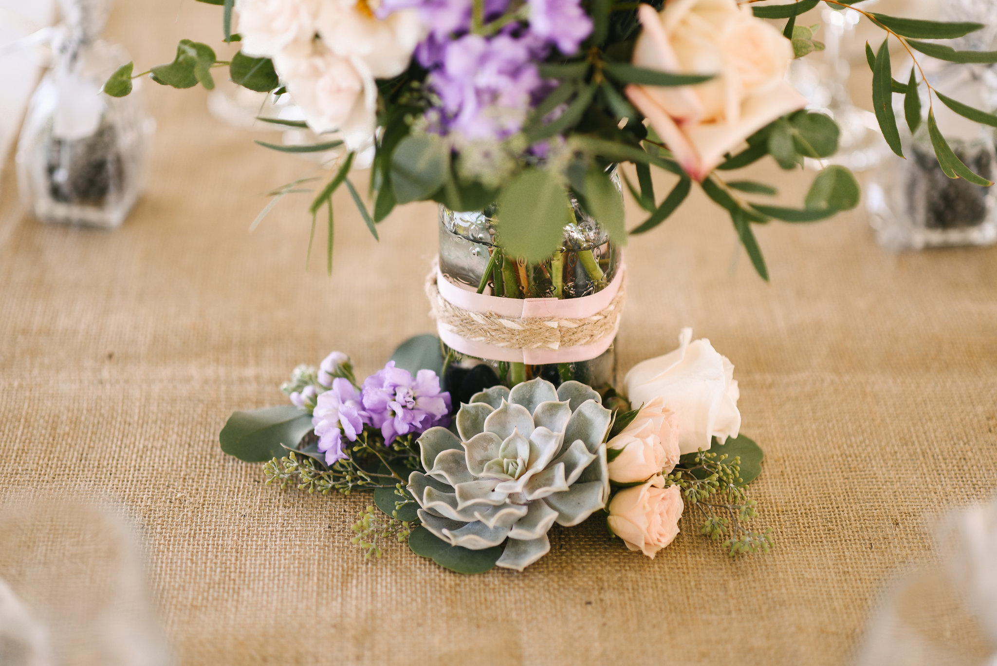 Maryland, Eastern Shore, Baltimore Wedding Photographer, Romantic, Boho, Backyard Wedding, Nature, Centerpieces of White and Purple Flowers and Succulents, Michael Designs Florist
