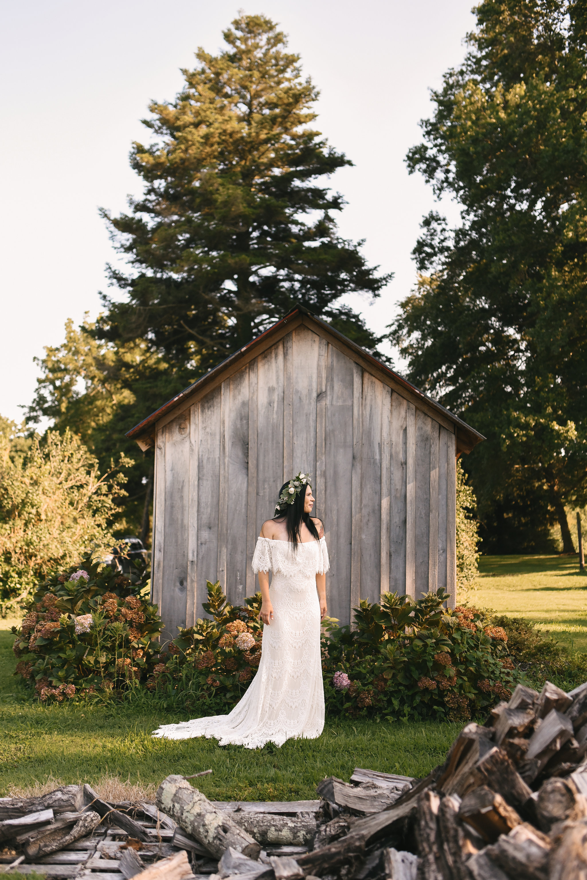 Maryland, Eastern Shore, Baltimore Wedding Photographer, Romantic, Boho, Backyard Wedding, Nature, Portrait of Bride Outside, Daughters of Simone Wedding Dress, Flower Crown