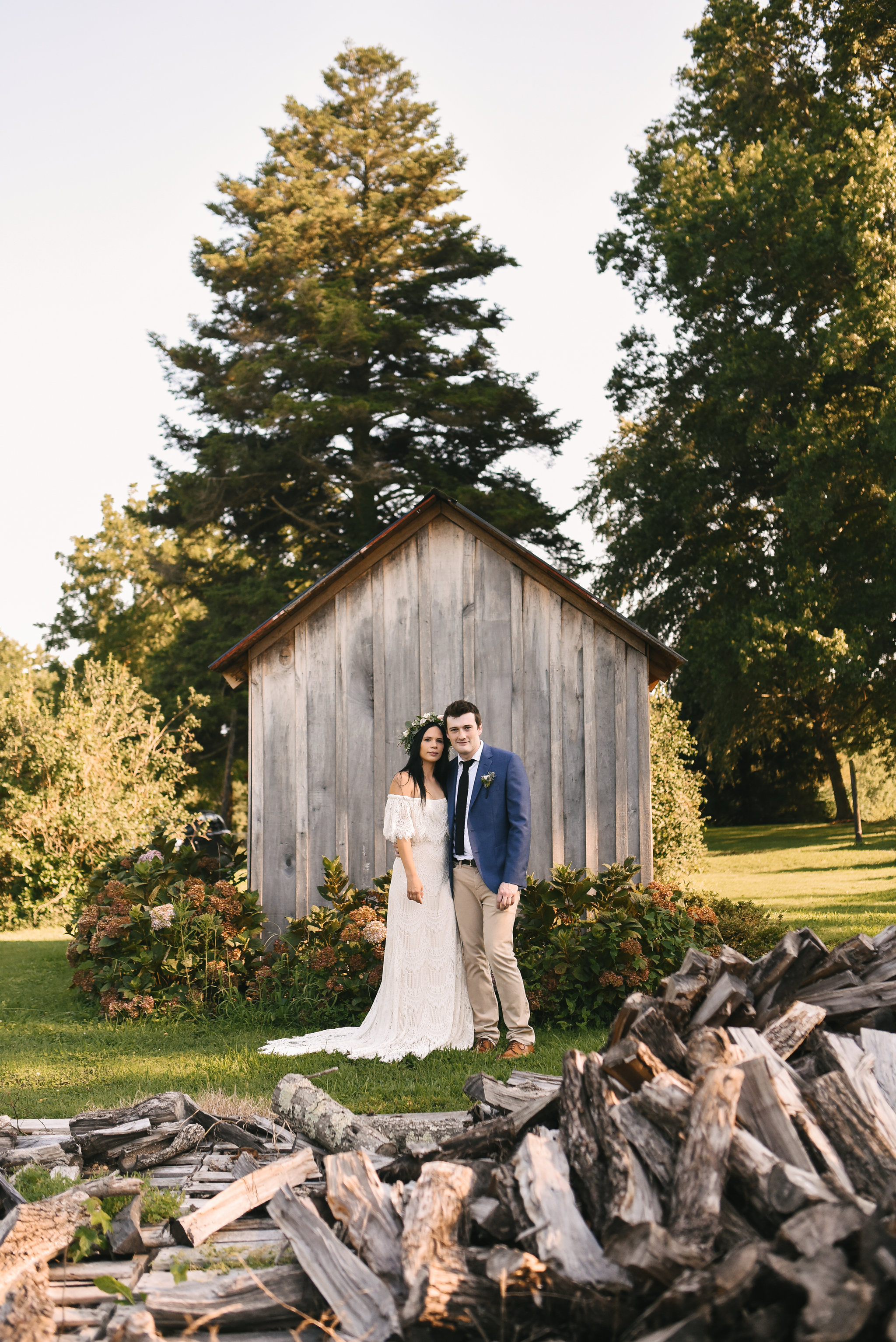 Maryland, Eastern Shore, Baltimore Wedding Photographer, Romantic, Boho, Backyard Wedding, Nature, Portrait of Bride and Groom, Daughters of Simone Wedding Dress