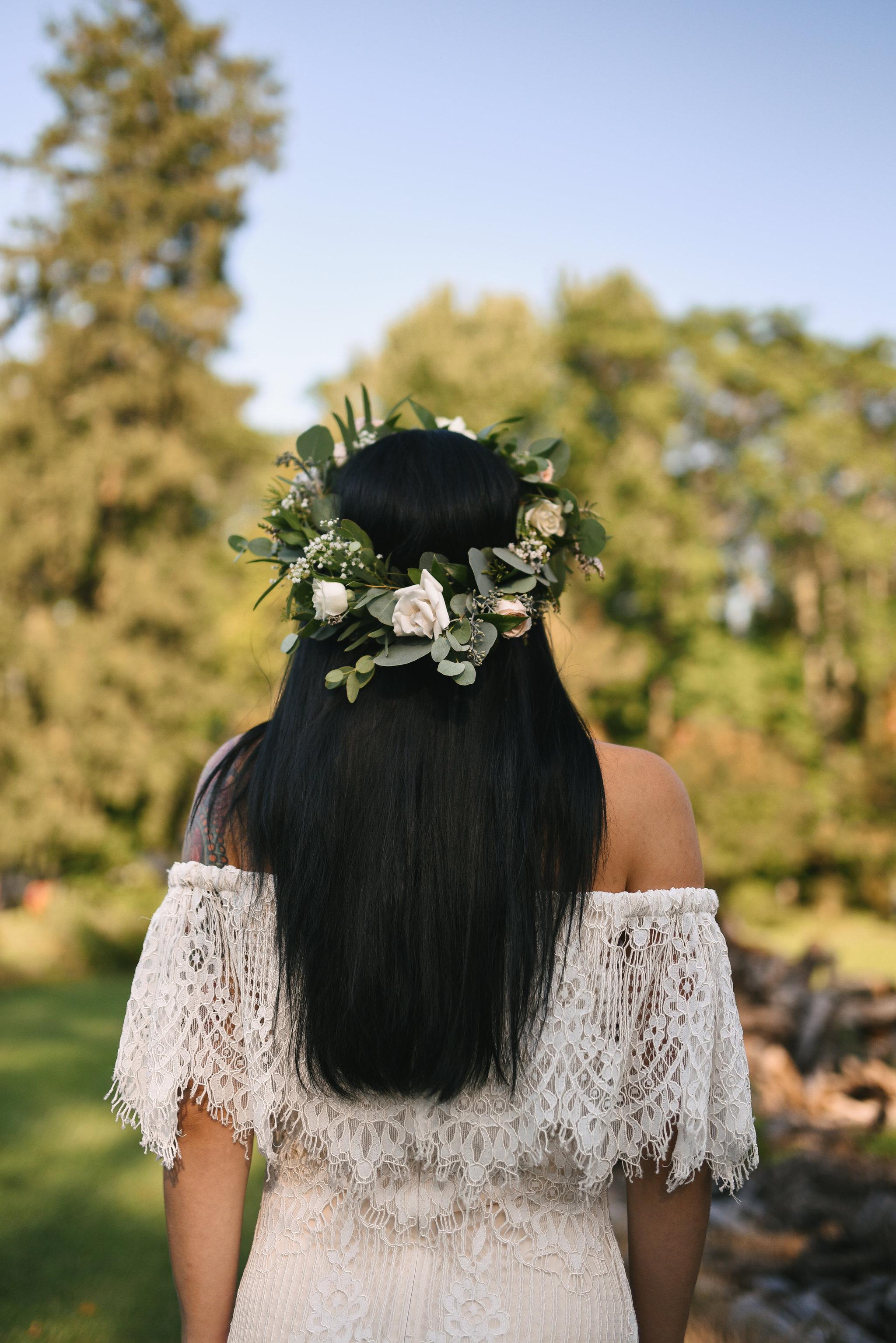Maryland, Eastern Shore, Baltimore Wedding Photographer, Romantic, Boho, Backyard Wedding, Nature, White Rose Flower Crown, Lace Daughters of Simone Wedding Dress, Bridal Hair