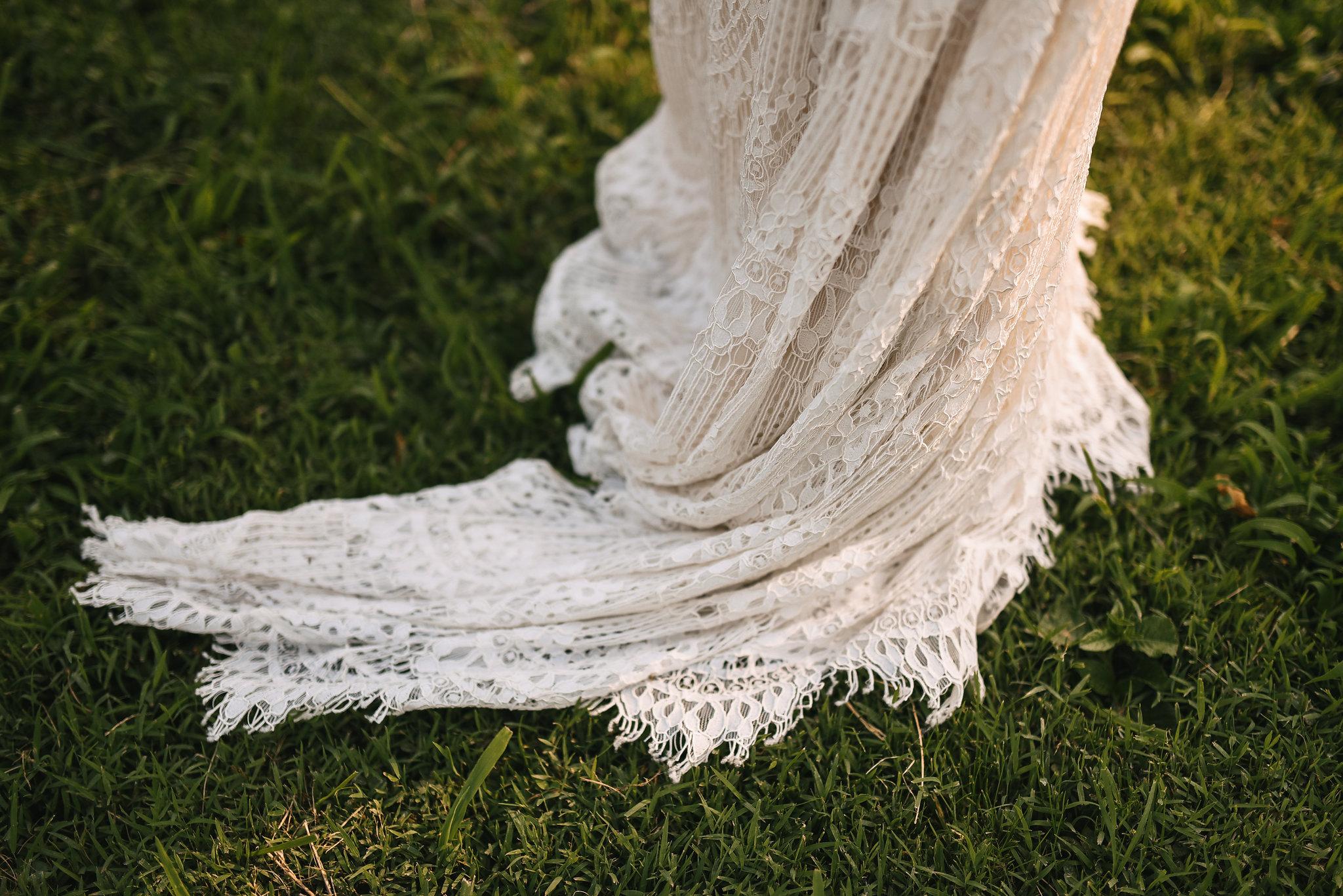 Maryland, Eastern Shore, Baltimore Wedding Photographer, Romantic, Boho, Backyard Wedding, Nature, Wedding Dress Train, Lace Daughters of Simone Dress