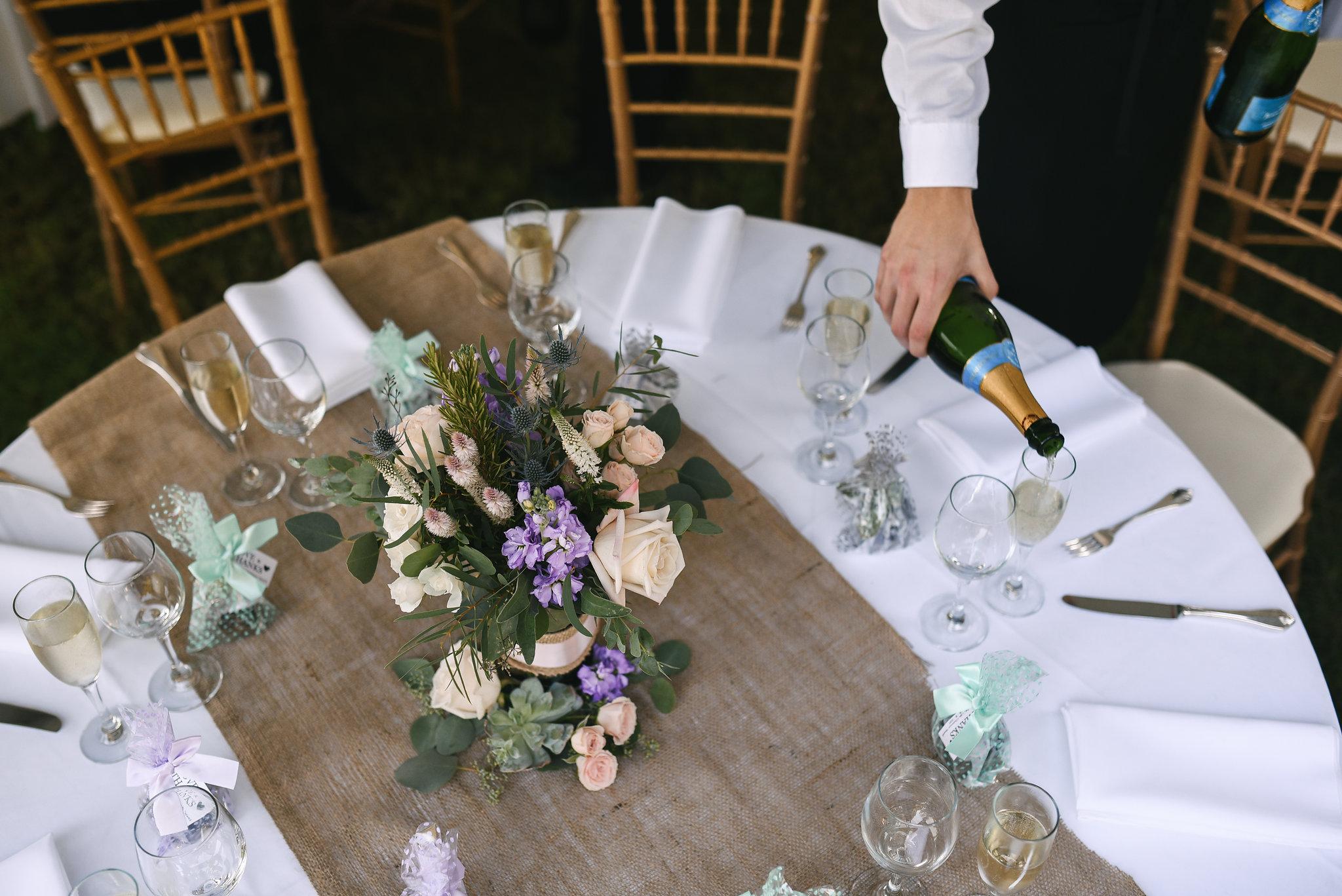 Maryland, Eastern Shore, Baltimore Wedding Photographer, Romantic, Boho, Backyard Wedding, Nature, Reception Decor, Table Settings, Floral Centerpieces, Michael Designs Florist