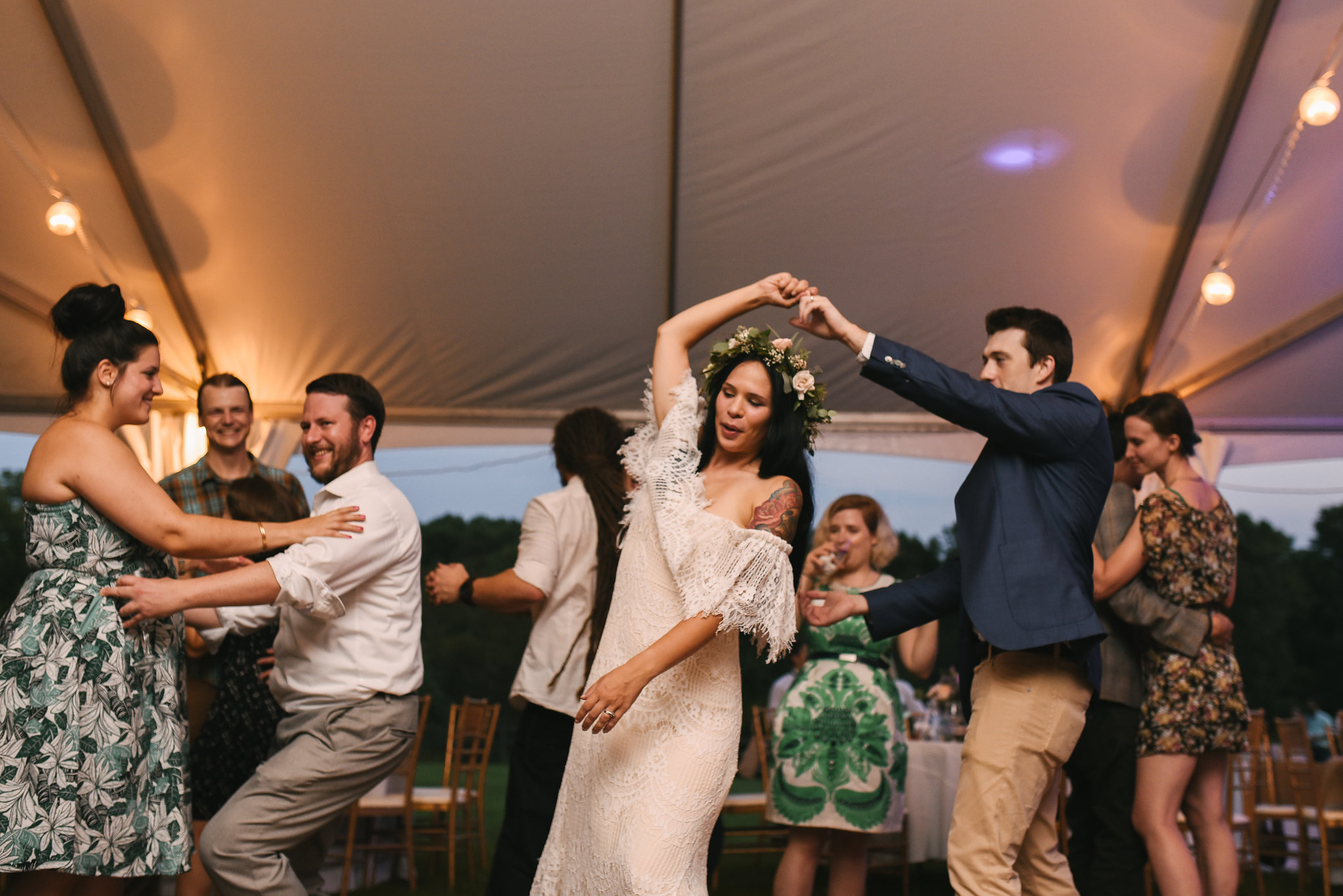 Maryland, Eastern Shore, Baltimore Wedding Photographer, Romantic, Boho, Backyard Wedding, Nature, Bride and Groom Dancing at Reception, Guests Dancing, Flower Crown