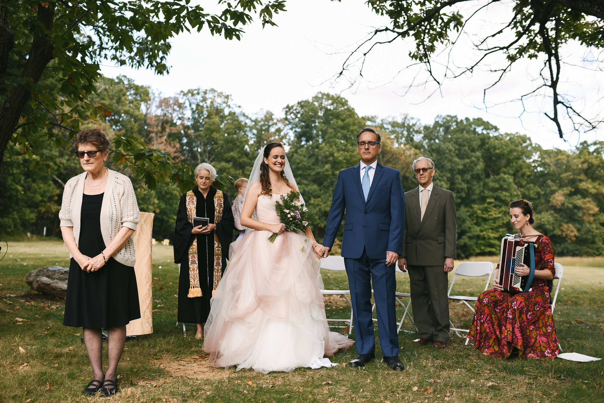 Vintage, DIY, Rustic, Germantown, Maryland Wedding Photographer, Alternative, Casual, Outdoor Wedding, Whimsical, Campground, Blush Wedding Dress, Ceremony Photo, Wedding Prayer