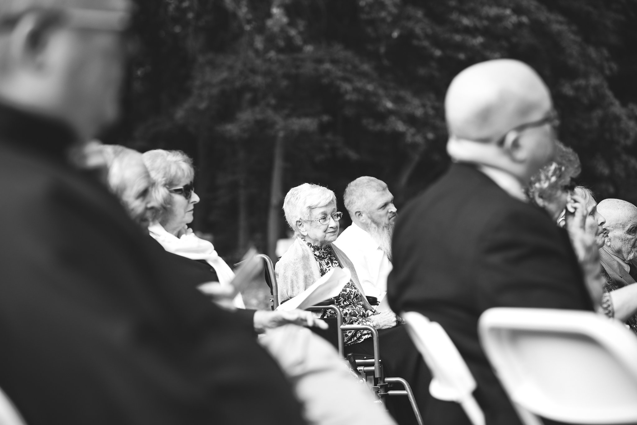 Vintage, DIY, Rustic, Germantown, Maryland Wedding Photographer, Alternative, Casual, Outdoor Wedding, Church Wedding, Whimsical, Campground, Black and White Photo, Wedding Guests, Grandmother