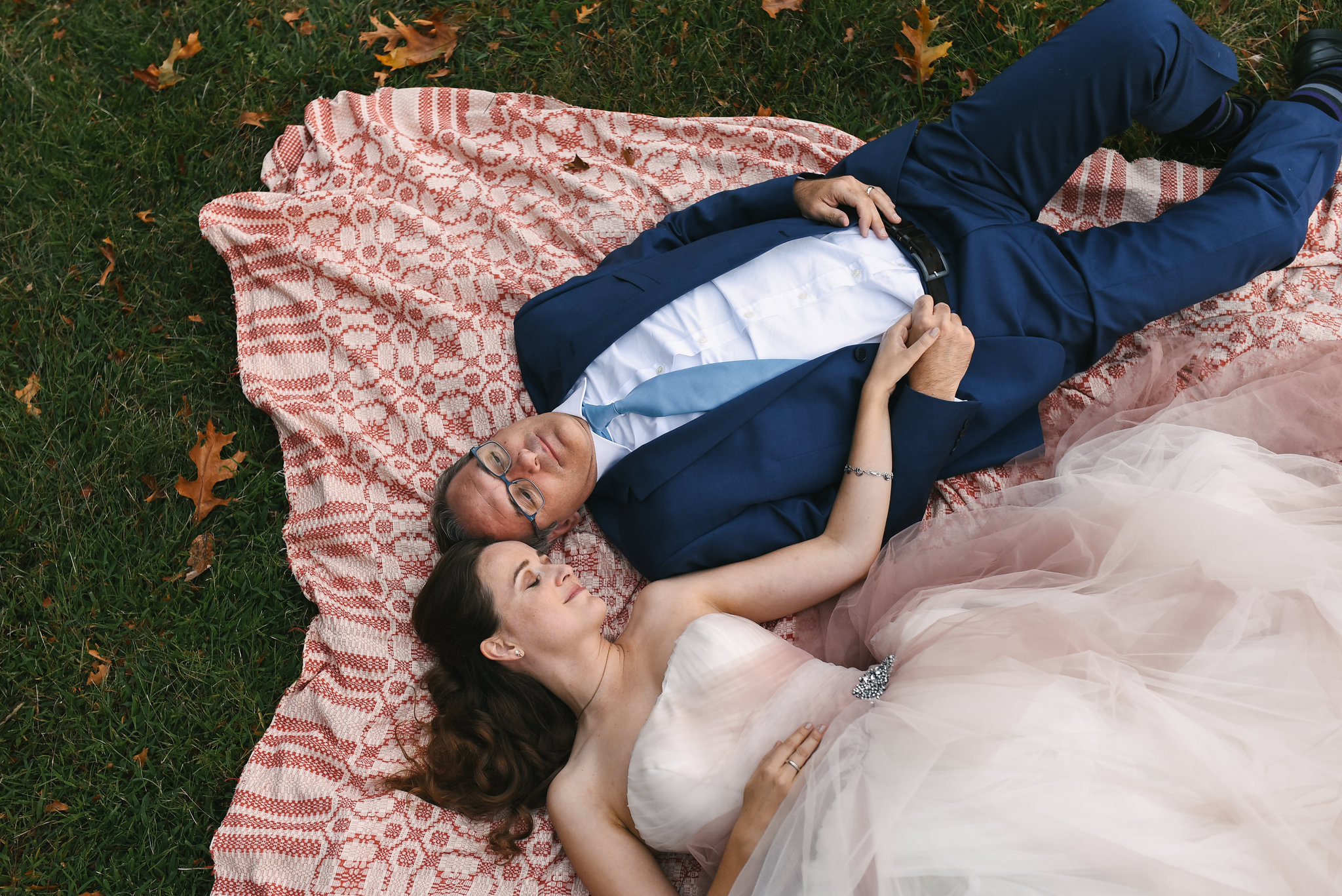 Vintage, Rustic, Germantown, Baltimore Wedding Photographer, Casual, Outdoor Wedding, Whimsical, Campground, Bride and Groom, Secluded Moments, Outdoor Portrait, Laying in Grass, Blush Wedding Dress