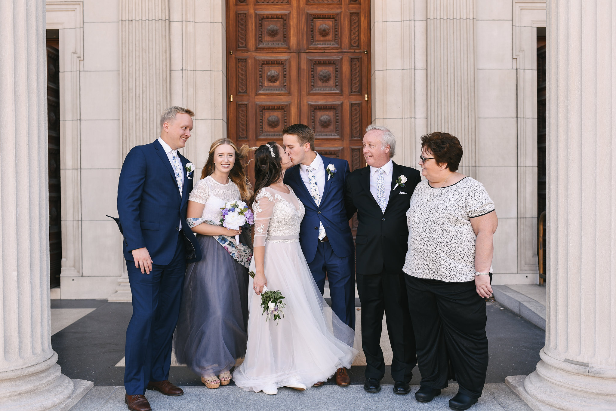 Baltimore, Canton, Church Wedding, Modern, Outdoors, Maryland Wedding Photographer, Romantic, Classic, St. Casimir Church, Portrait of bride and groom with family, bride and groom kissing