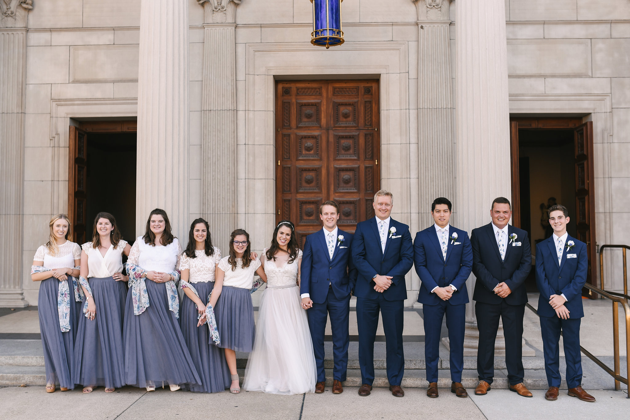 Baltimore, Canton, Church Wedding, Modern, Outdoors, Maryland Wedding Photographer, Romantic, Classic, St. Casimir Church, Portrait of wedding party, Blue groomsmen suits, white and gray bridesmaid dresses