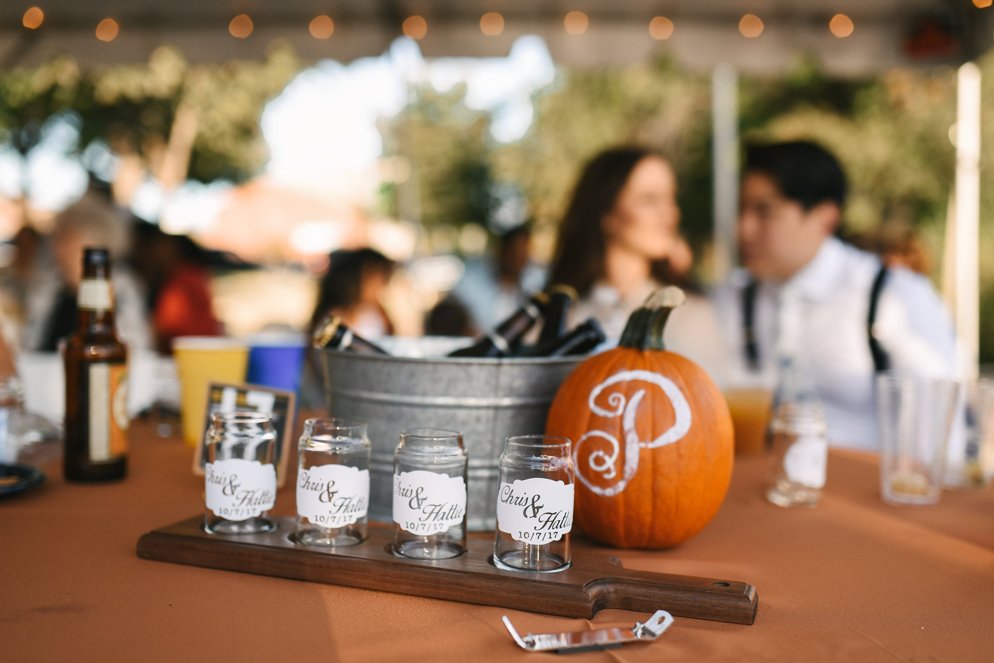 Baltimore, Canton, Modern, Outdoor Reception, Maryland Wedding Photographer, Romantic, Classic, Boston Street Pier Park, Craft Beer Flight, Custom beer glasses