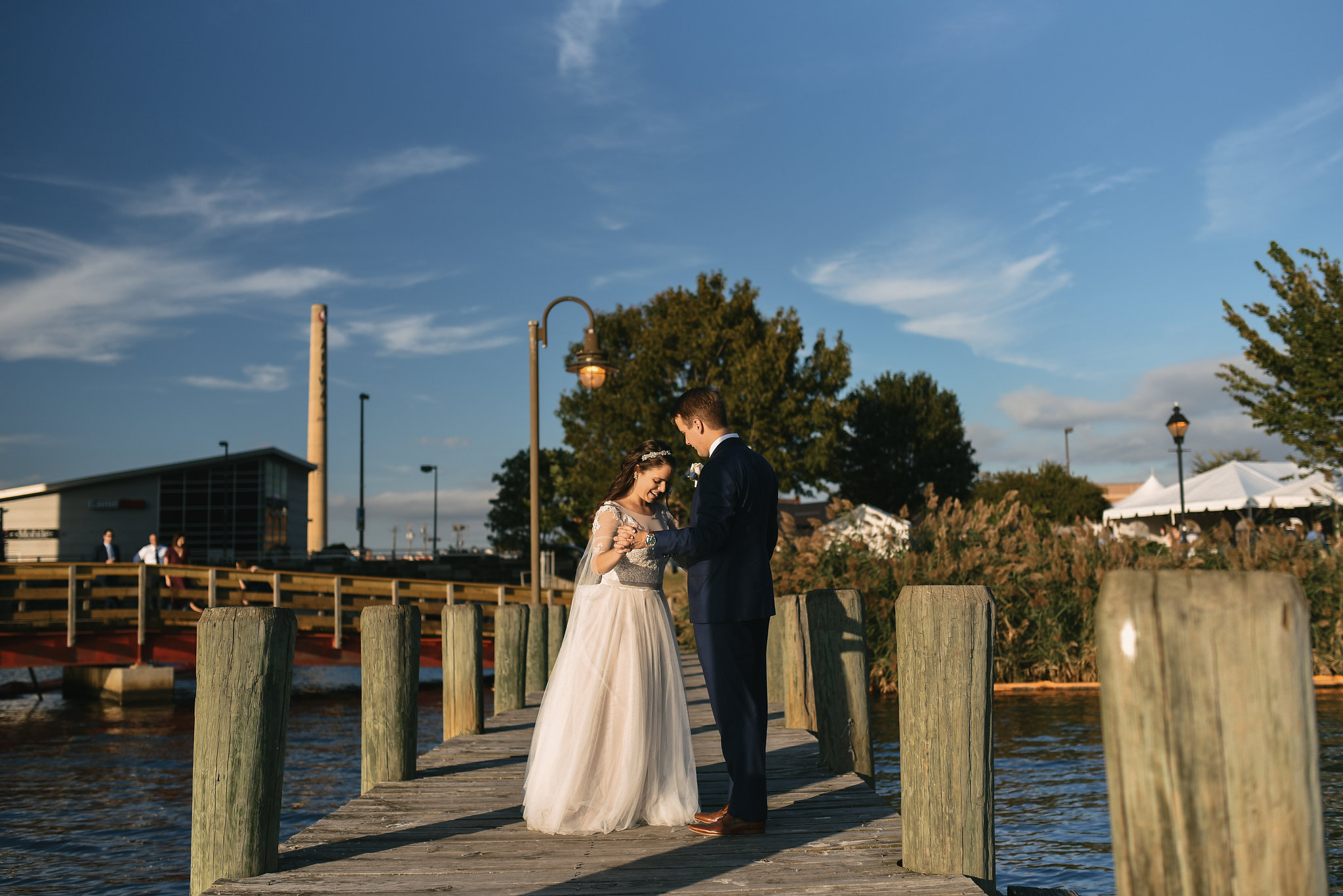 Baltimore, Canton, Modern, Outdoor Reception, Maryland Wedding Photographer, Romantic, Classic, Boston Street Pier Park, Bride and groom dancing on pier, Waterfront