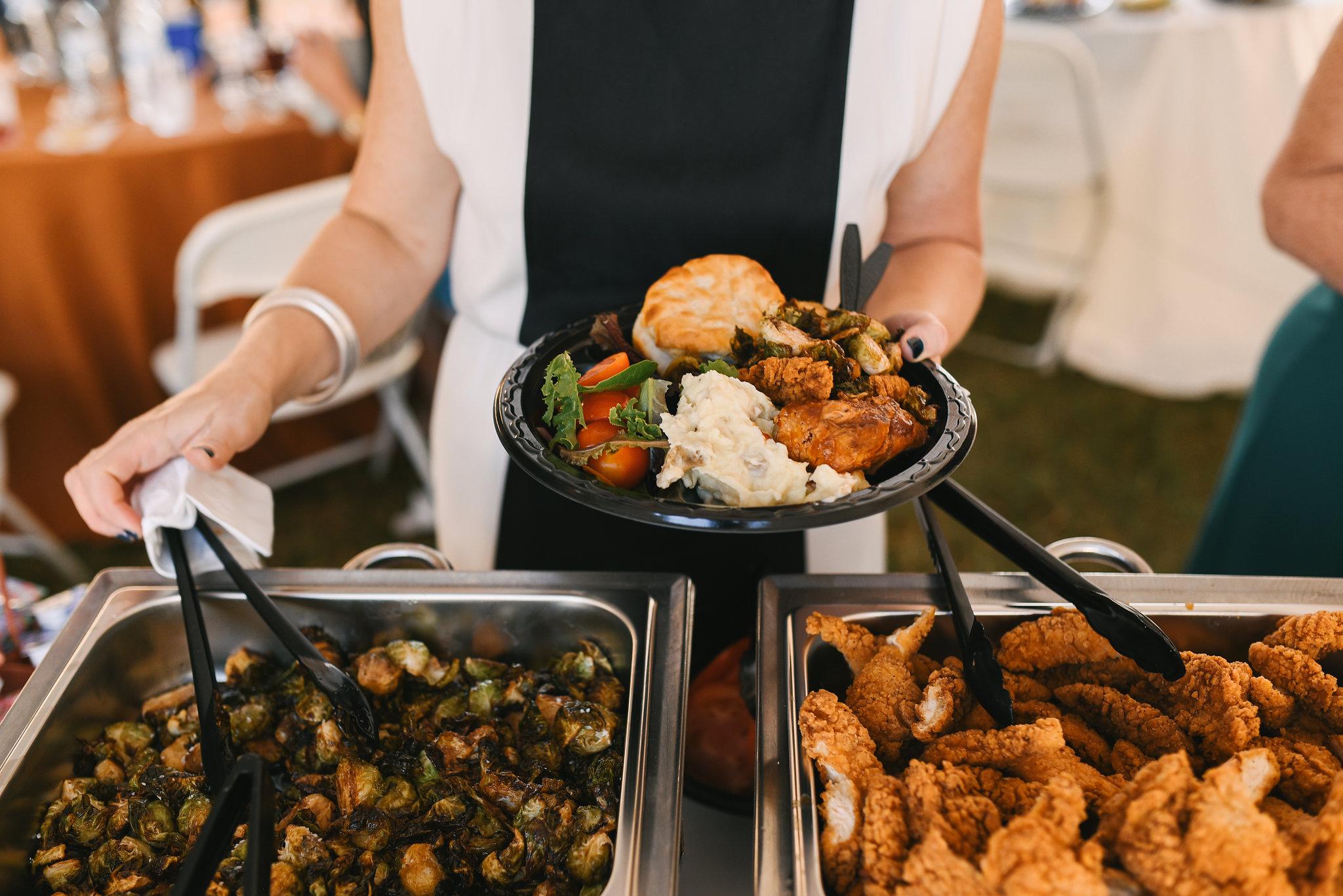 Baltimore, Canton, Modern, Outdoor Reception, Maryland Wedding Photographer, Romantic, Classic, Boston Street Pier Park, Buffet at Reception, Homestyle food