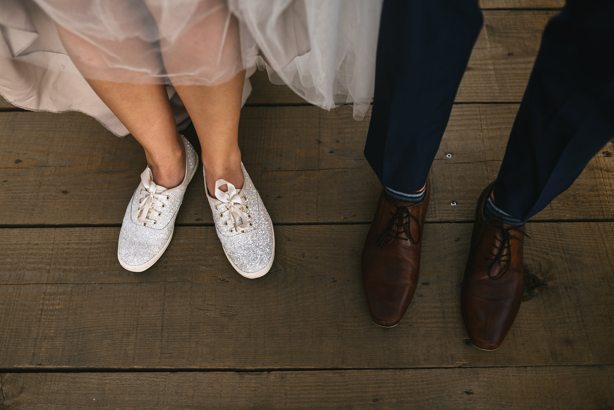 Baltimore, Canton, Modern, Outdoor Reception, Maryland Wedding Photographer, Romantic, Classic, Boston Street Pier Park, Shoes of bride and groom, glittery Keds sneakers, Stripped socks