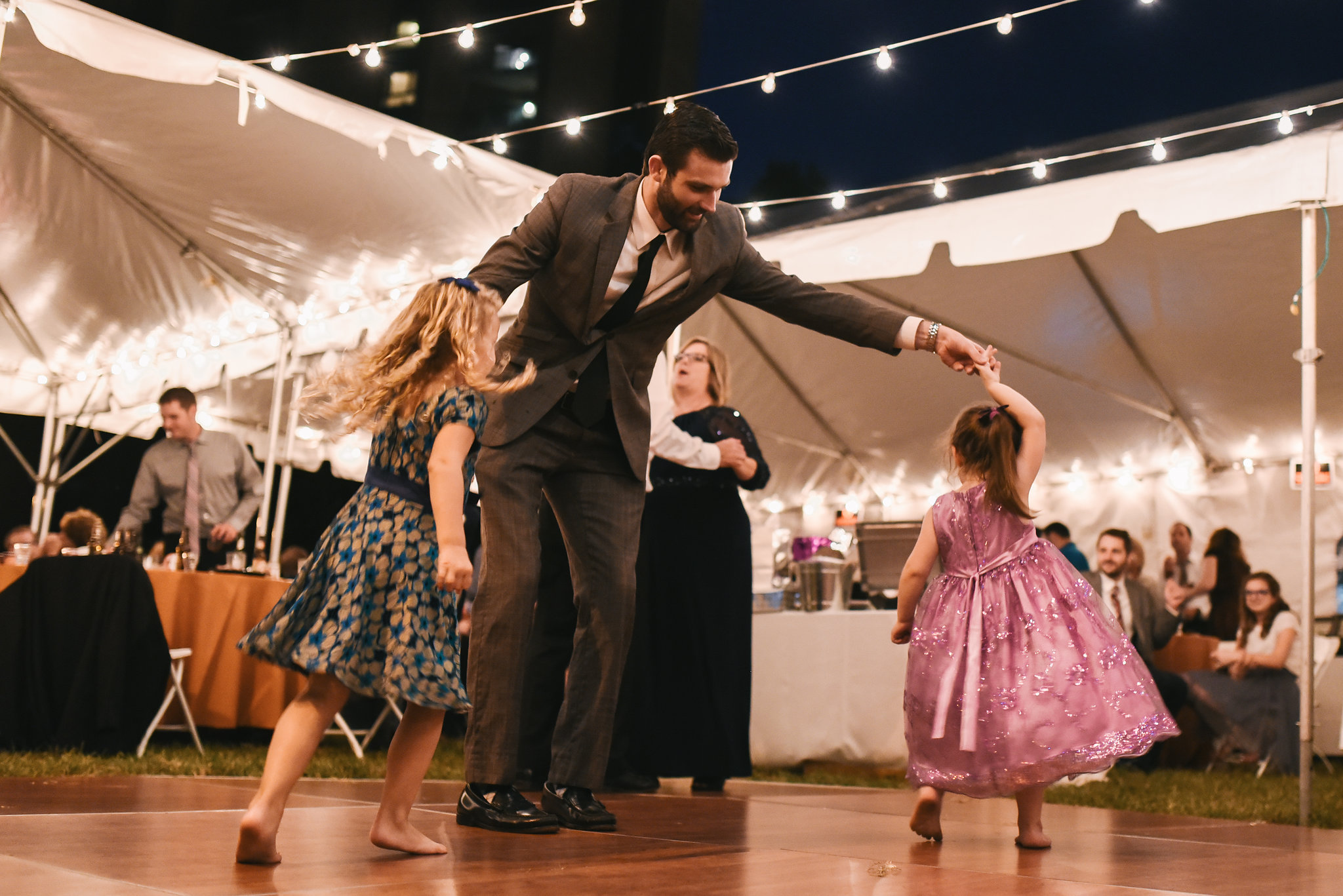 Baltimore, Canton, Modern, Outdoor Reception, Maryland Wedding Photographer, Romantic, Classic, Boston Street Pier Park, Guest dancing with little girls at reception