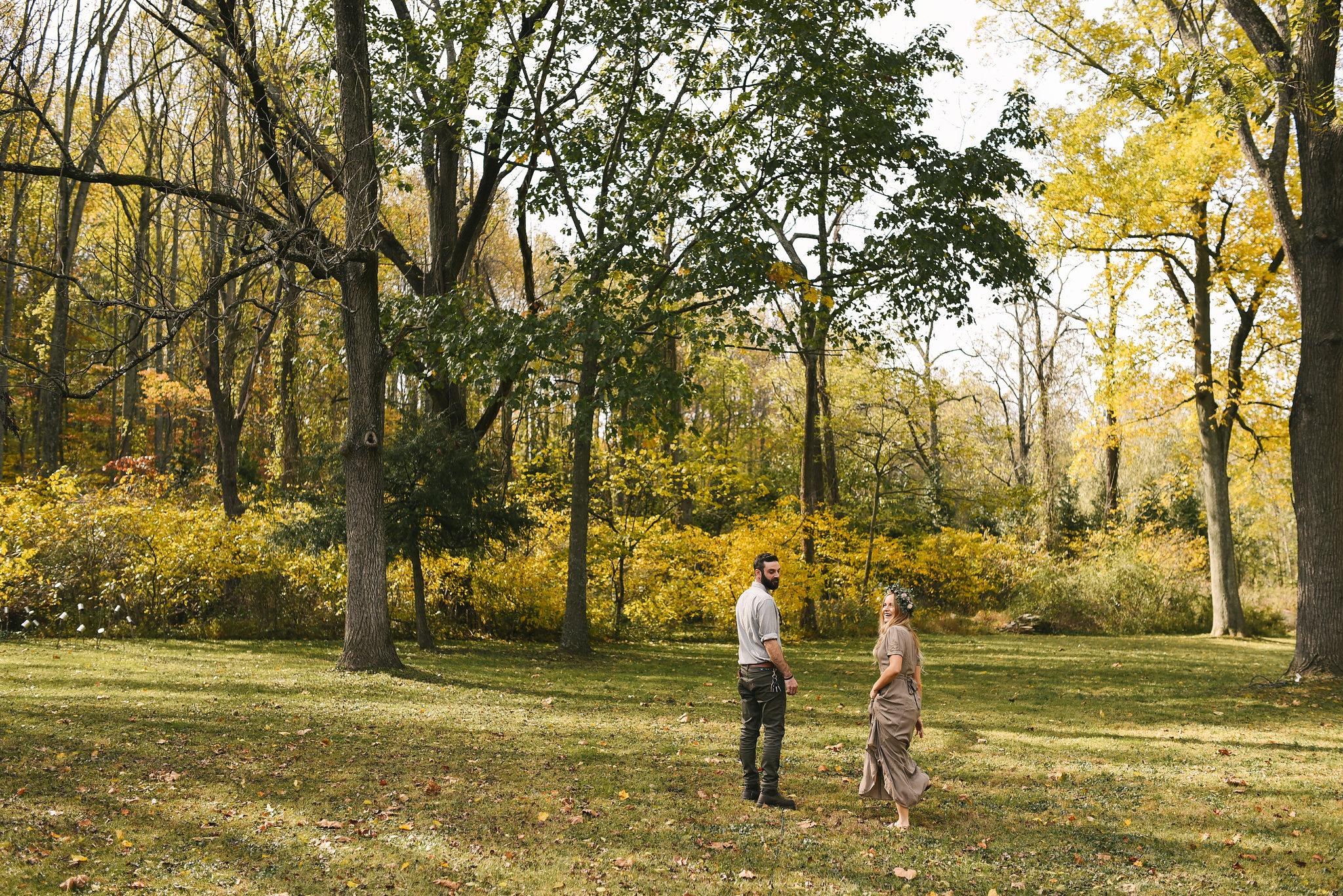 Baltimore, Maryland Wedding Photographer, Backyard Wedding, DIY, Rustic, Casual, Fall Wedding, Woodland, Bride and Groom Walking Through Field
