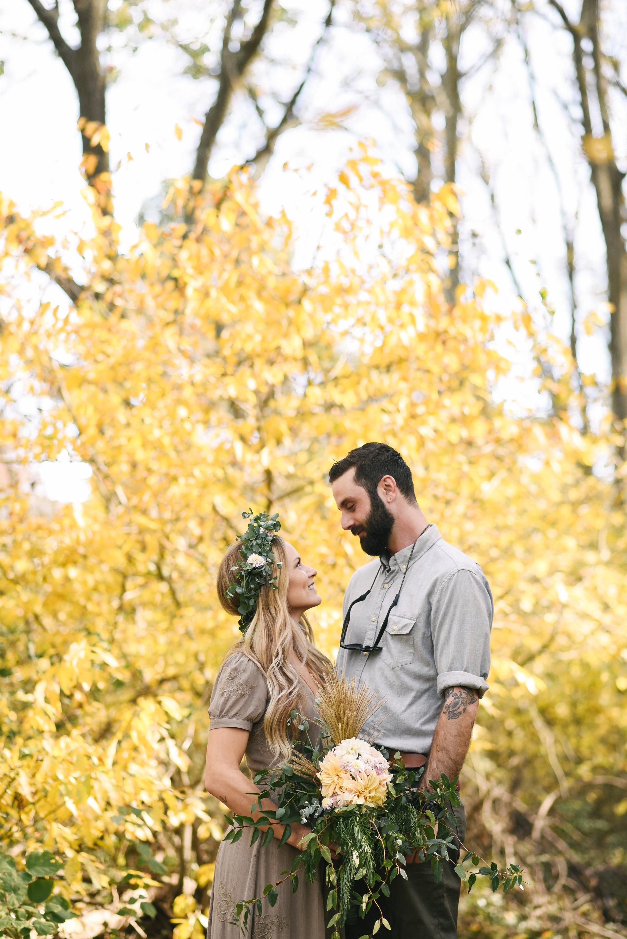 Baltimore, Maryland Wedding Photographer, Backyard Wedding, DIY, Rustic, Casual, Fall Wedding, Woodland, Flower Crown, Brightside Boutique Dress