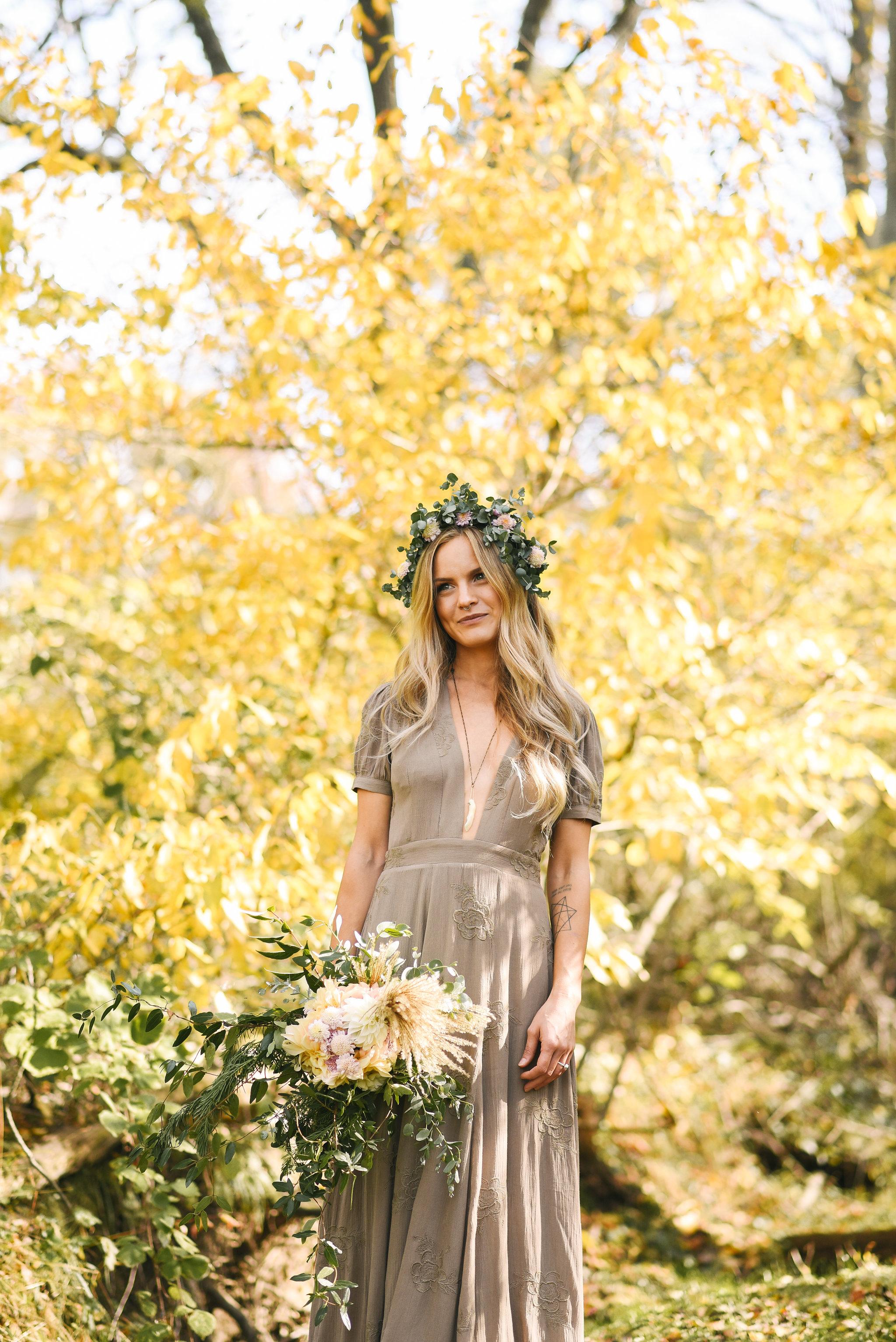 Baltimore, Maryland Wedding Photographer, Backyard Wedding, DIY, Rustic, Casual, Fall Wedding, Woodland, Butterbee Farm Flower Crown, Brightside Boutique Wedding Dress