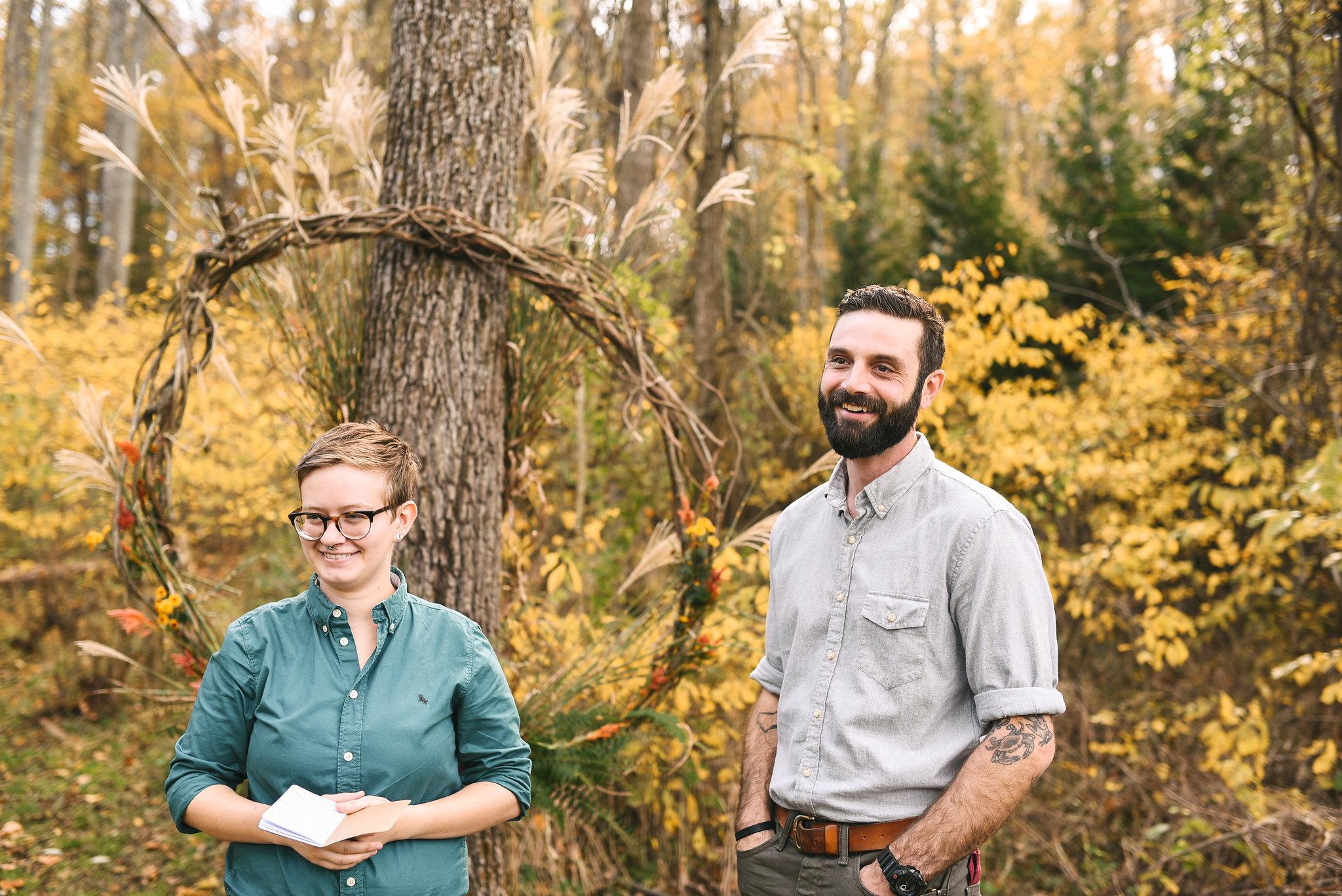 Baltimore, Maryland Wedding Photographer, Backyard Wedding, DIY, Rustic, Casual, Fall Wedding, Woodland, Groom Standing with Officiant