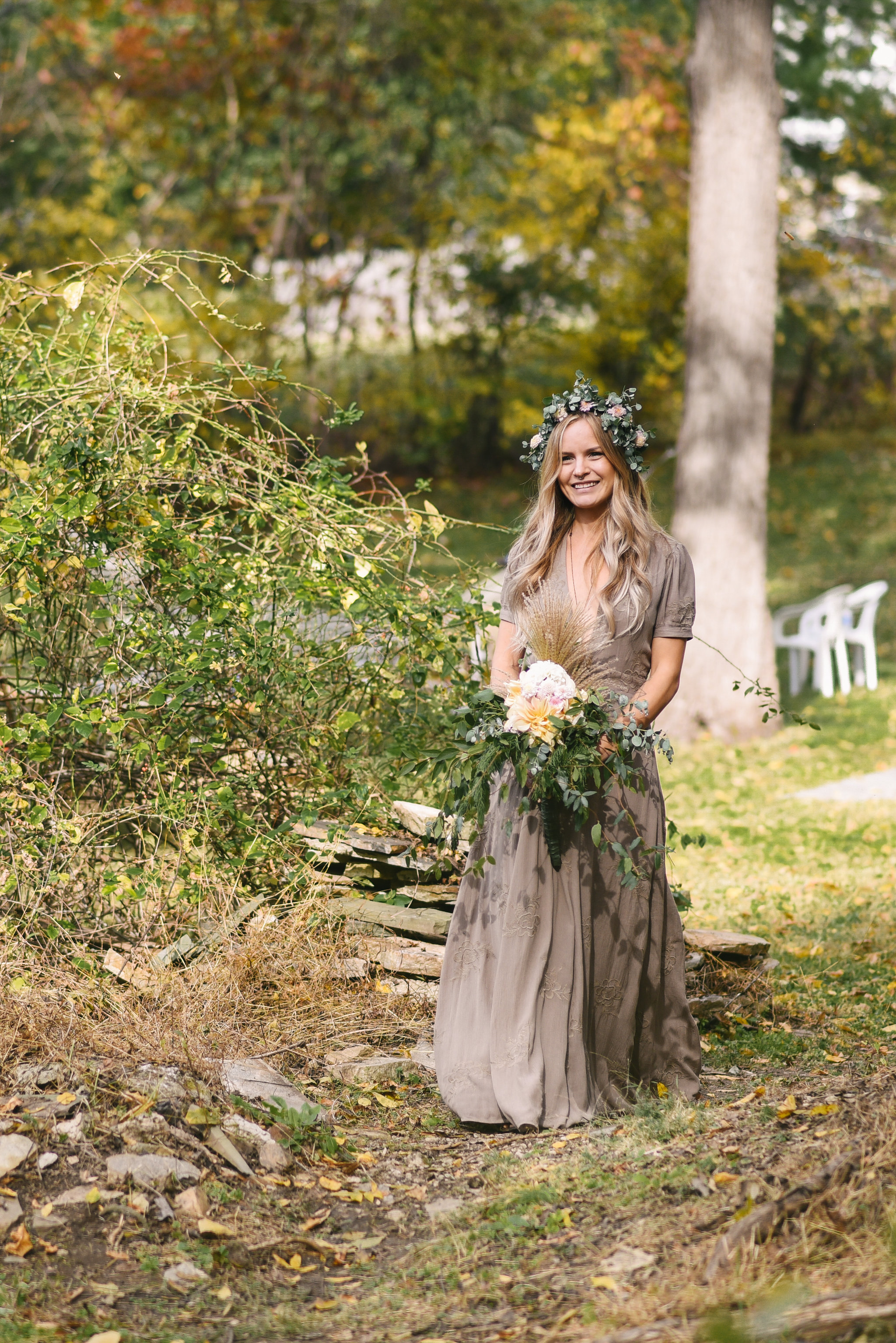 Baltimore, Maryland Wedding Photographer, Backyard Wedding, DIY, Rustic, Casual, Fall Wedding, Woodland, Butterbee Bridal Bouquet, Brightside Boutique Dress, Bride Walking Down Aisle