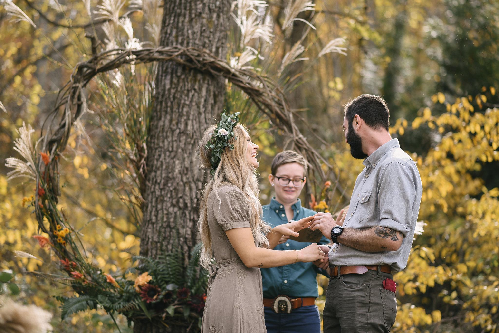 Baltimore, Maryland Wedding Photographer, Backyard Wedding, DIY, Rustic, Casual, Fall Wedding, Woodland, Bride and Groom Laughing During Ceremony