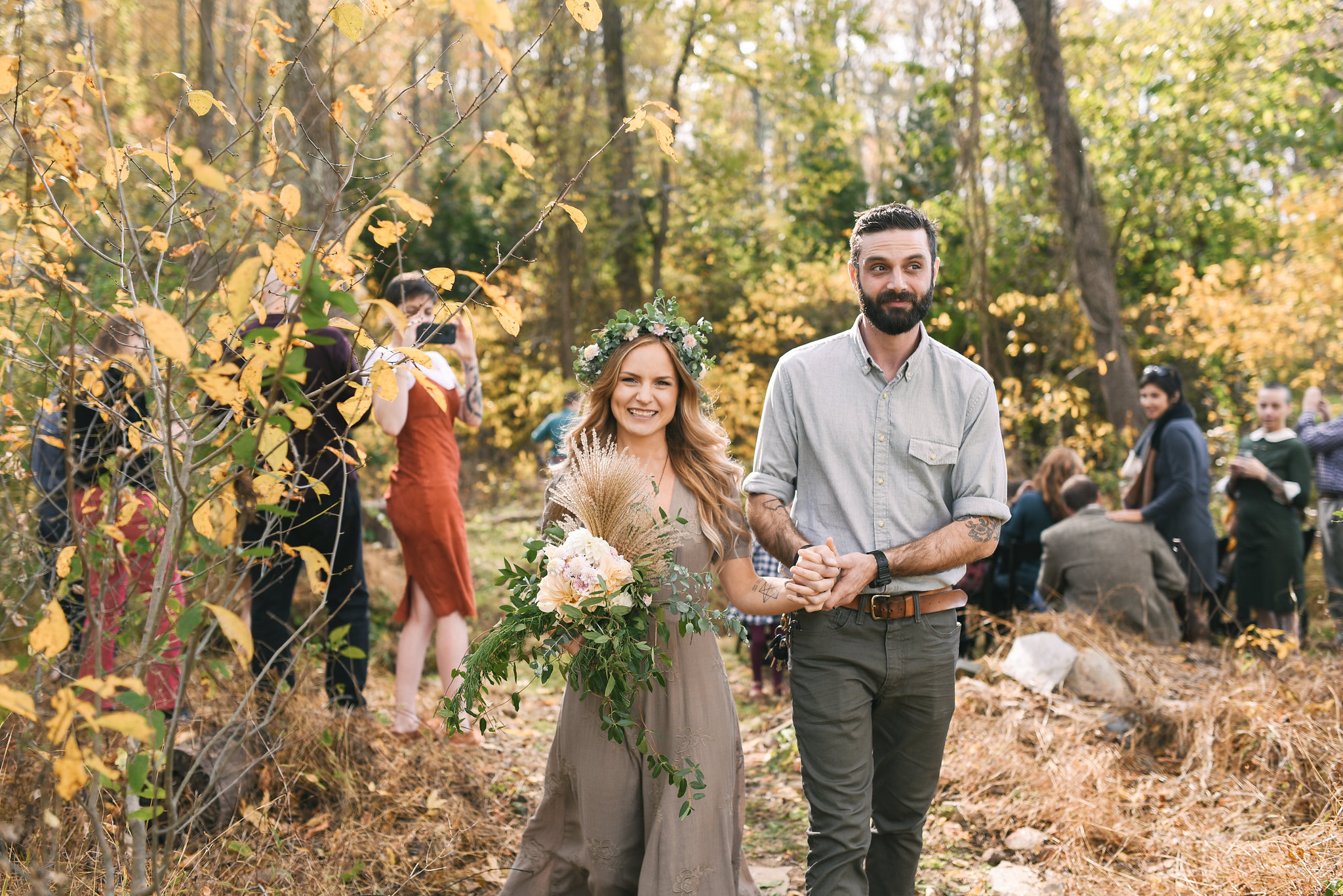 Baltimore, Maryland Wedding Photographer, Backyard Wedding, DIY, Rustic, Casual, Fall Wedding, Woodland, Bride and Groom Holding Hands and Smiling, Butterbee Farm, Flower Crown