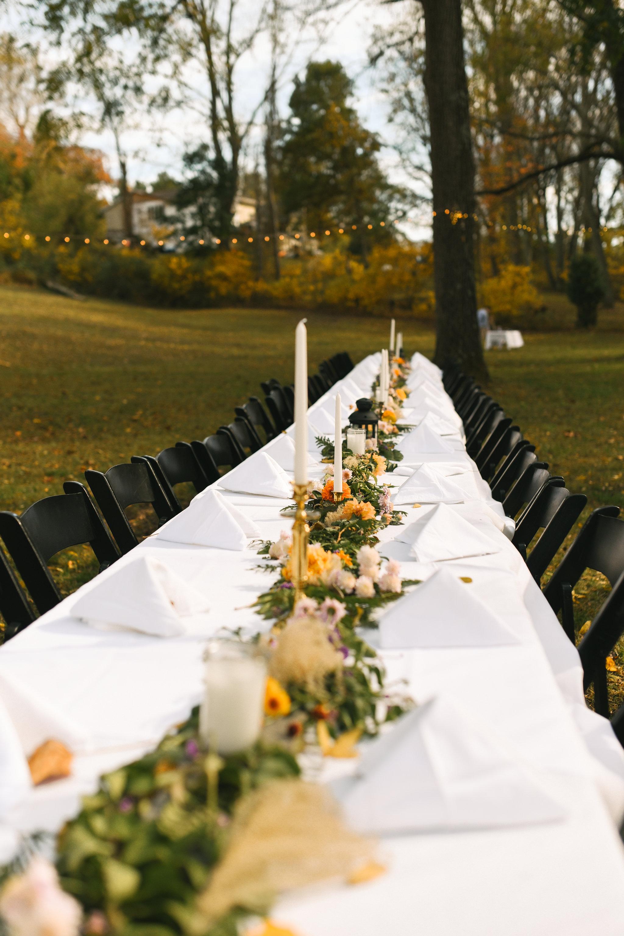 Baltimore, Maryland Wedding Photographer, Backyard Wedding, DIY, Rustic, Casual, Fall Wedding, Woodland, Banquet Table at Reception, Butterbee Farm Floral Centerpieces