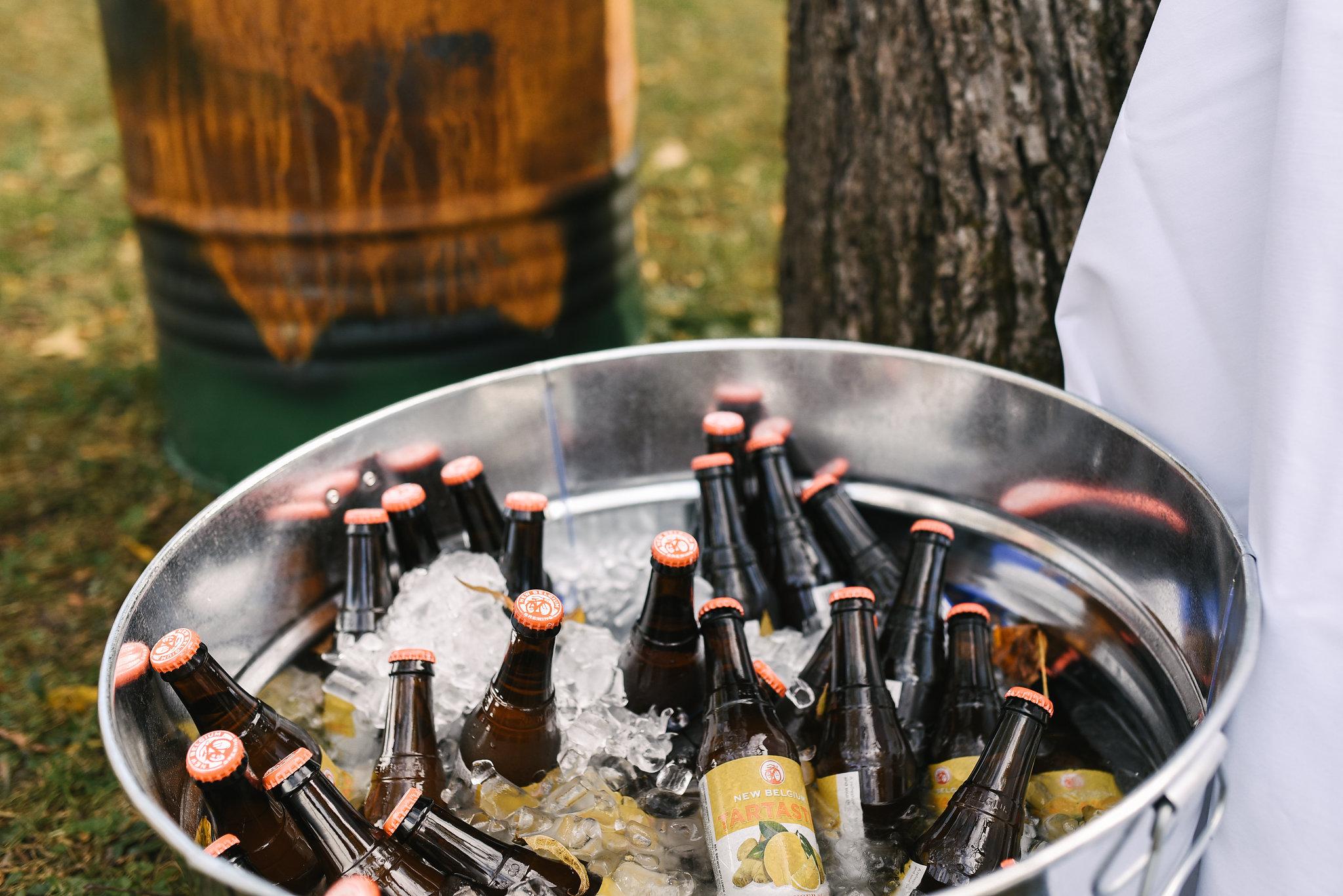 Baltimore, Maryland Wedding Photographer, Backyard Wedding, DIY, Rustic, Casual, Fall Wedding, Woodland, Bucket of Local Craft Beer at Reception