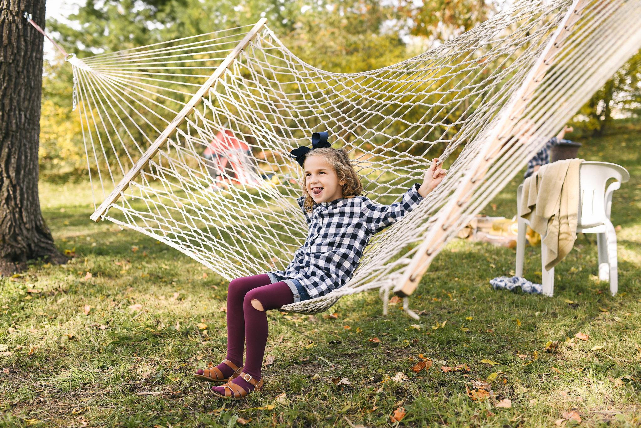 Baltimore, Maryland Wedding Photographer, Backyard Wedding, DIY, Rustic, Casual, Fall Wedding, Woodland, Little Girl on Hammock at Reception