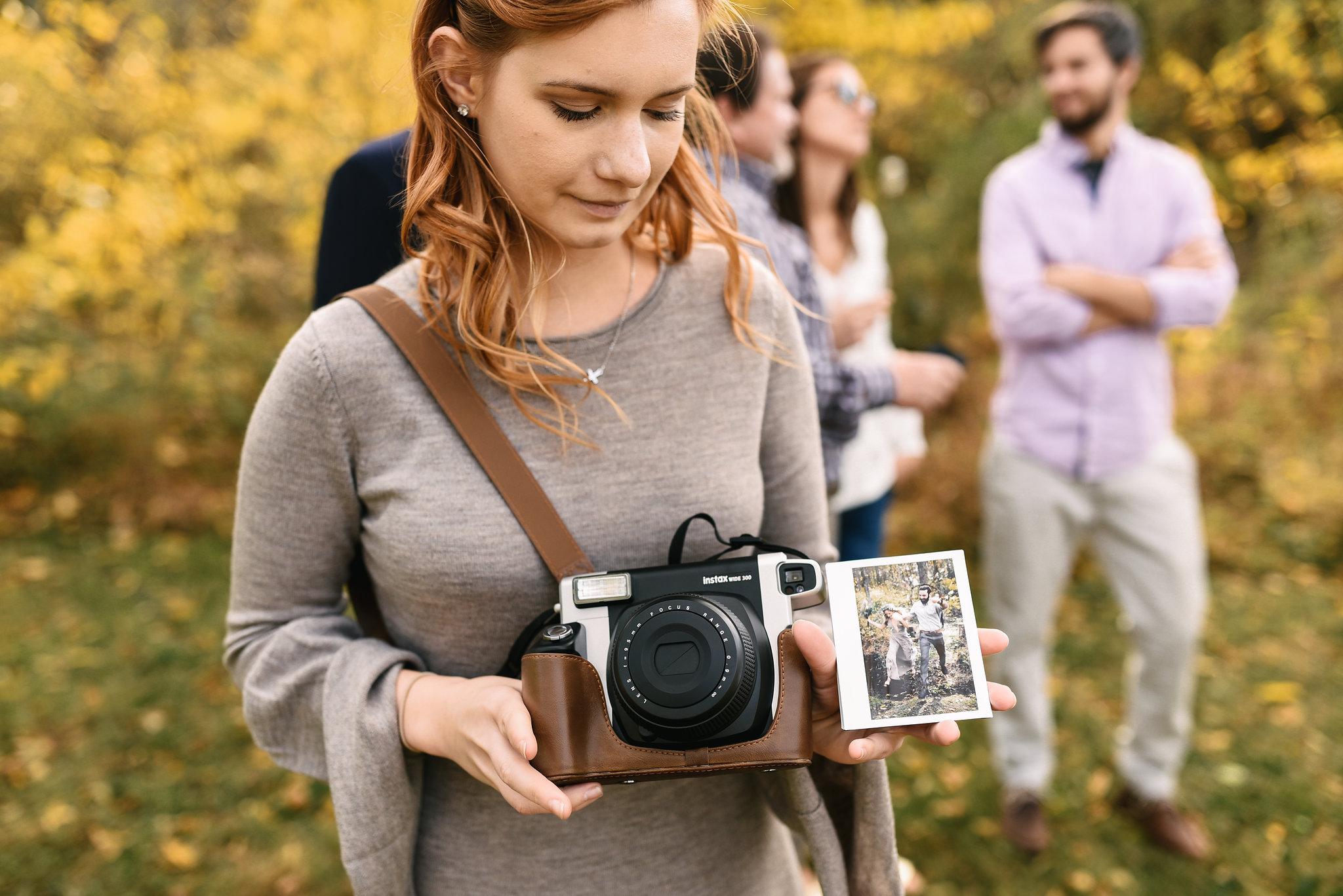 Baltimore, Maryland Wedding Photographer, Backyard Wedding, DIY, Rustic, Casual, Fall Wedding, Woodland, Wedding Guest with Polaroid Camera