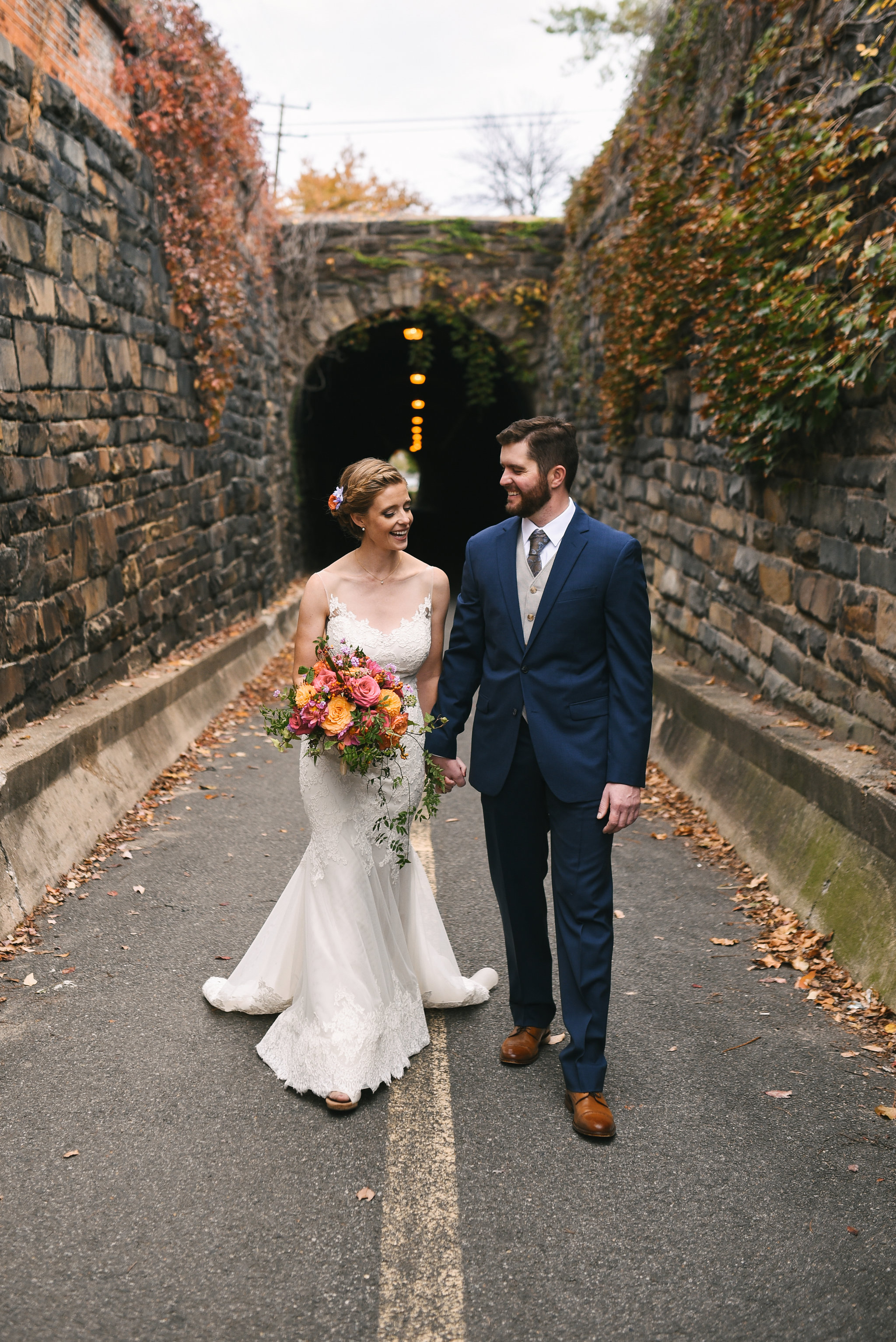 Alexandria, Virginia, Fall Wedding, Historic Wedding, Old Town, DC, Wilkes Street Tunnel, Romantic, Lian Carlo Wedding Dress, Secluded Moments, The Enchanted Florist Bouquet, DC Wedding Photographer