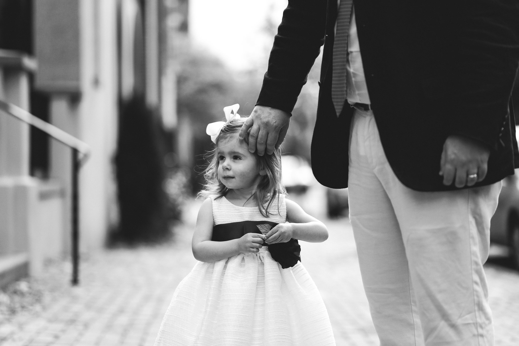 Alexandria, DC, Autumn, Fall Wedding, Historic, Bridal Party, Flower Girl, Black and White Photo