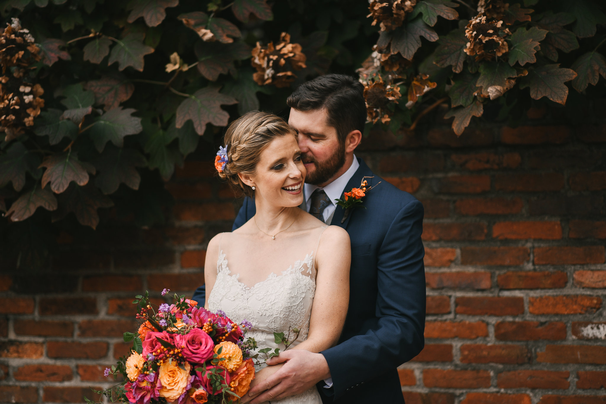 Alexandria, Virginia, Fall Wedding, Historic Wedding, Old Town, DC, Jos A. Bank Suit, Lian Carlo Wedding Dress, Lace Wedding Dress, Secluded Moments, The Enchanted Florist Bouquet