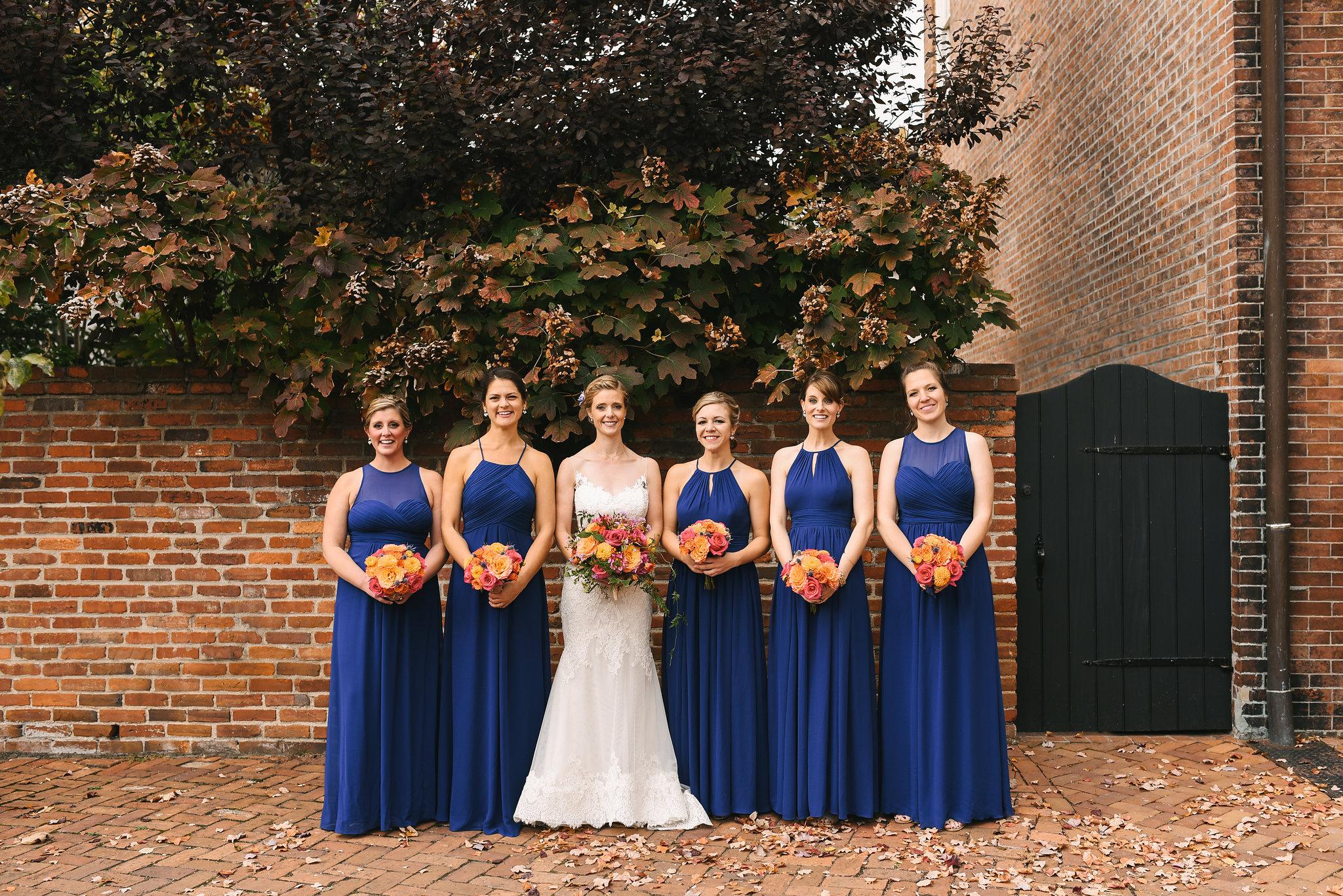 Alexandria, Virginia, Fall Wedding, Historic Wedding, Old Town, DC, Lian Carlo Wedding Dress, Lace Wedding Dress, The Enchanted Florist Bouquet, Bride and Bridesmaids, Blue Bridesmaid Dresses