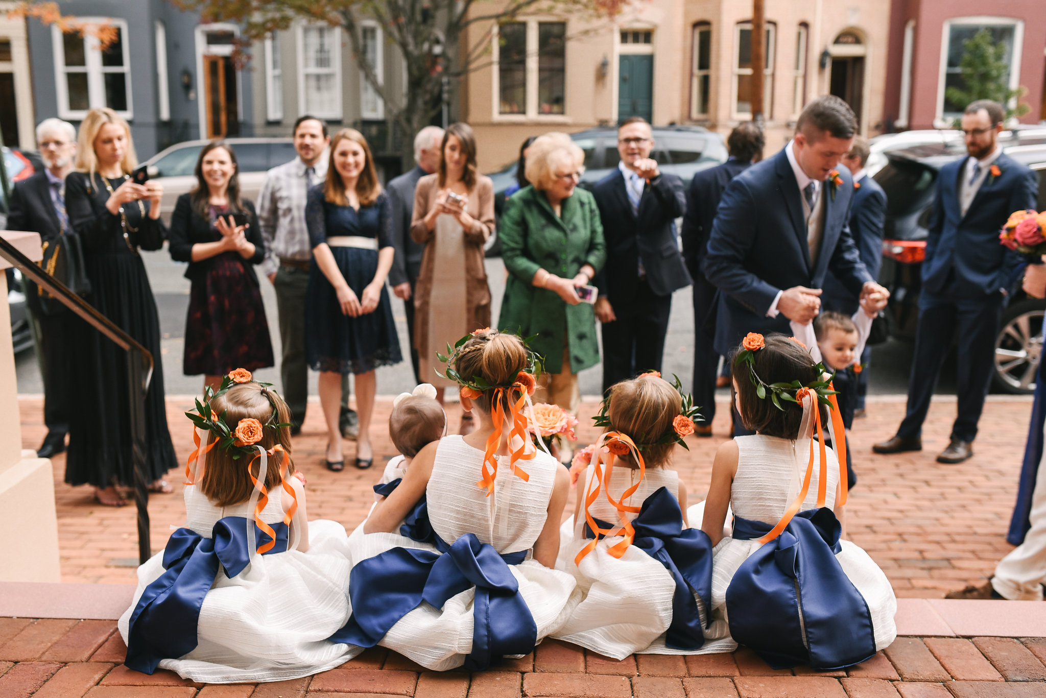 Alexandria, Fall Wedding, Historic, The Enchanted Florist, Wedding Party, Bridal Party, Flower Girls, Flower Crown, Wedding Guests, Candid Photo
