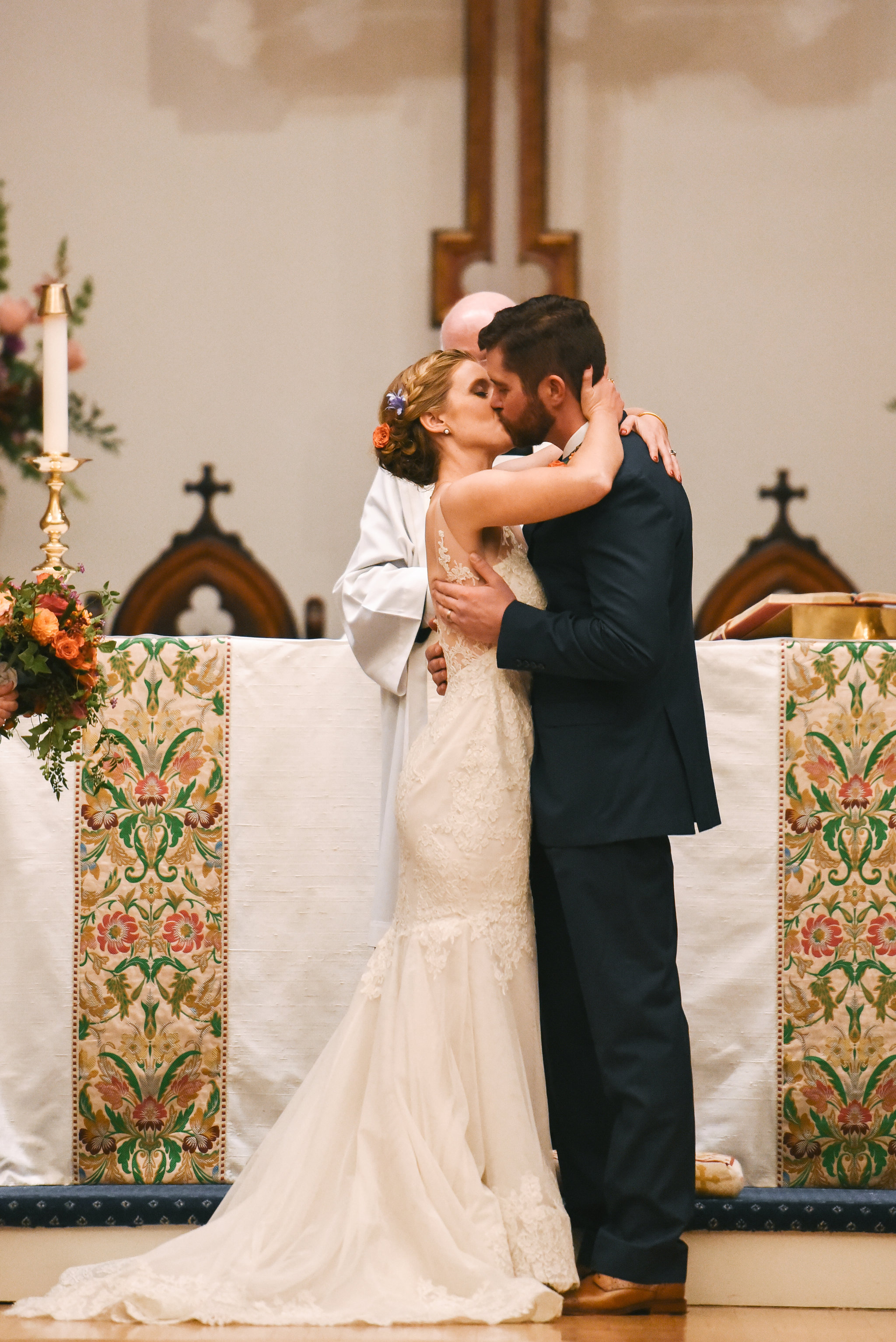 Alexandria, DC, Jos A. Bank Suit, Lian Carlo Wedding Dress, St. Paul's Episcopal Church, Church Wedding, Ceremony, First Kiss, Bride and Groom, Wedding Kiss, Baltimore Wedding Photographer