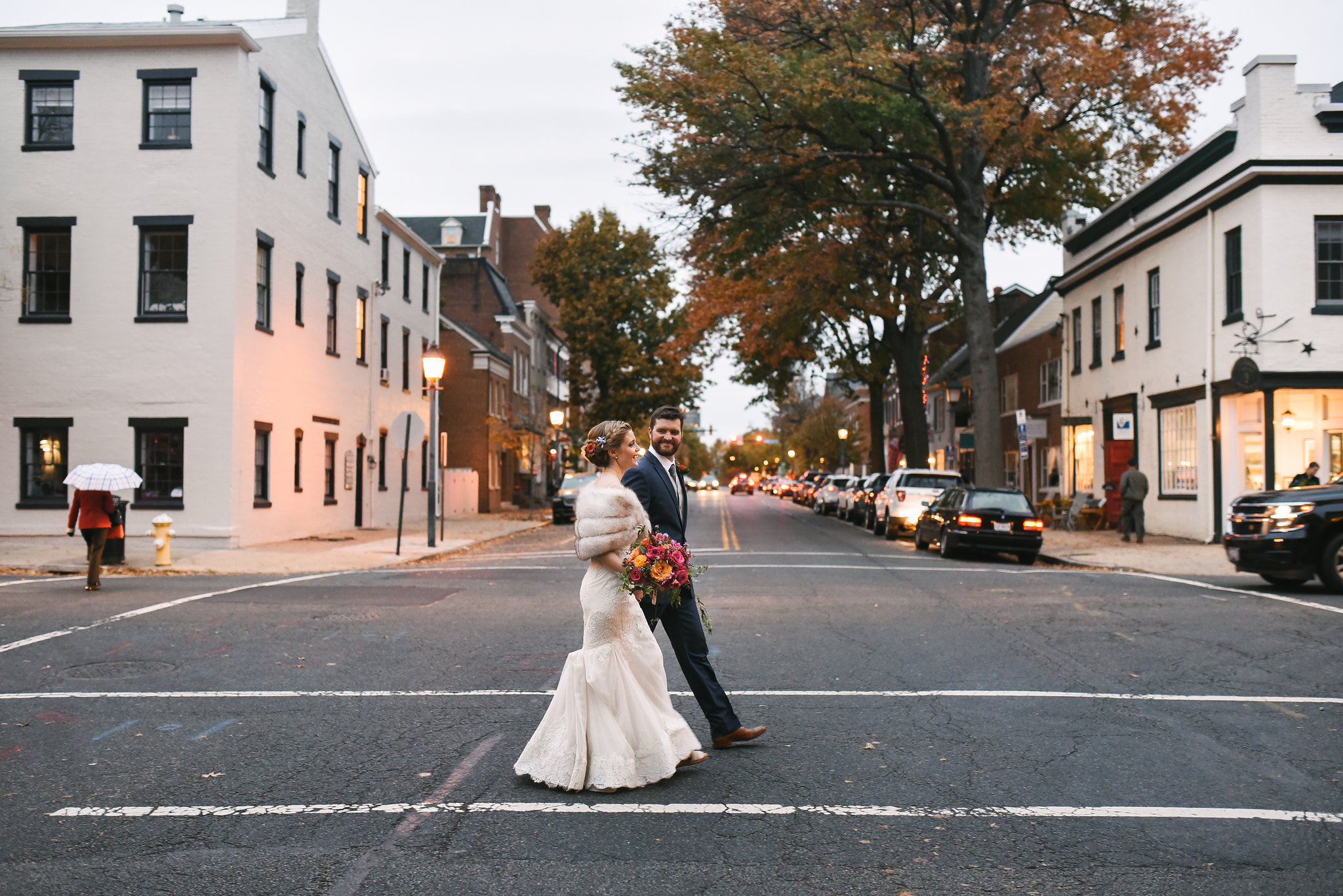 Alexandria, DC, Jos A. Bank Suit, Lian Carlo Wedding Dress, Lace Wedding Dress, Romantic, Vintage, Bride and Groom, Candid Photo, Old Town, The Enchanted Florist, Wedding Flowers, Evening Wedding
