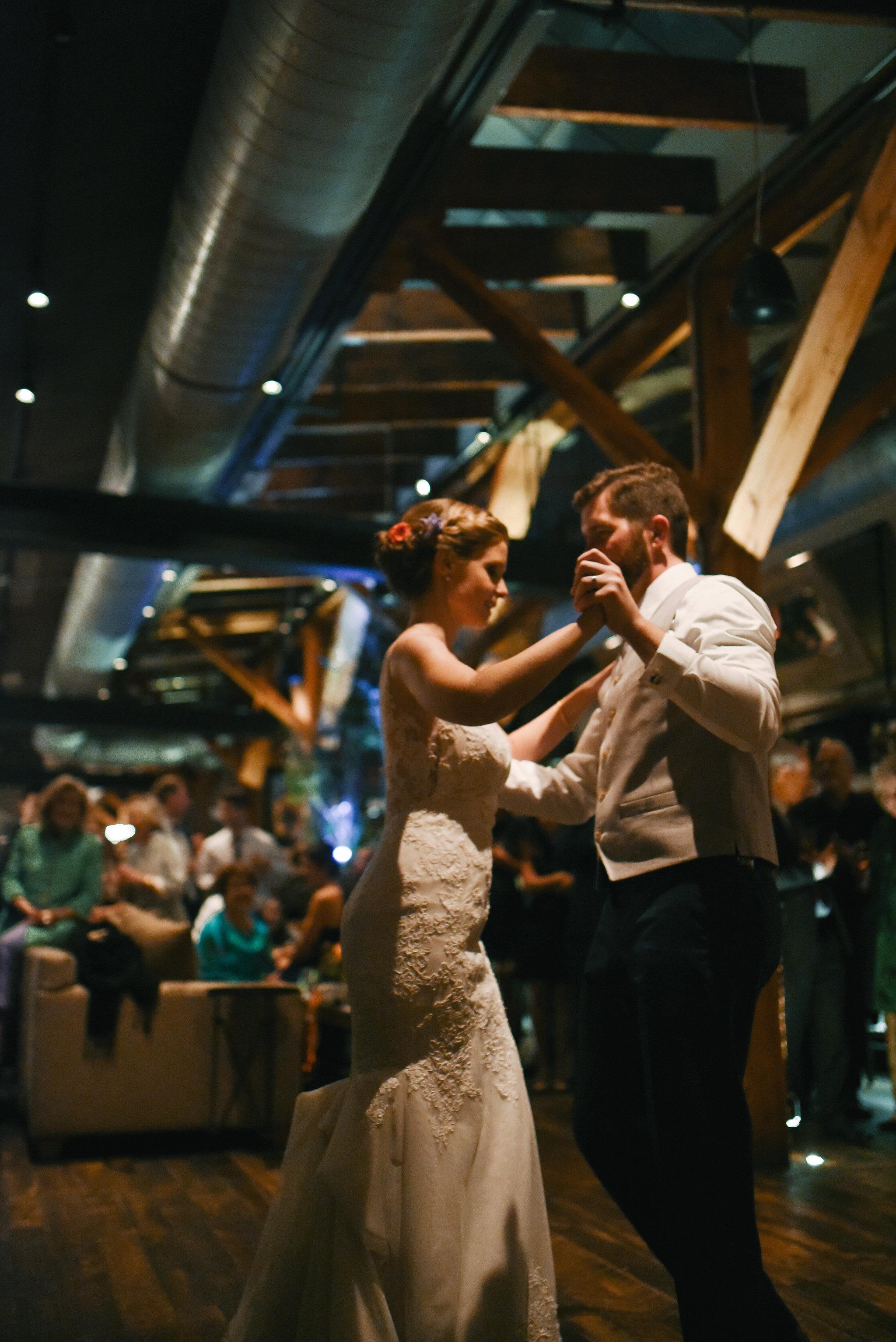 Alexandria, DC, Fall Wedding, Reception, Virtue Feed and Grain, First Dance, Rustic Wedding, Romantic, Lian Carlo Dress, Bride and Groom