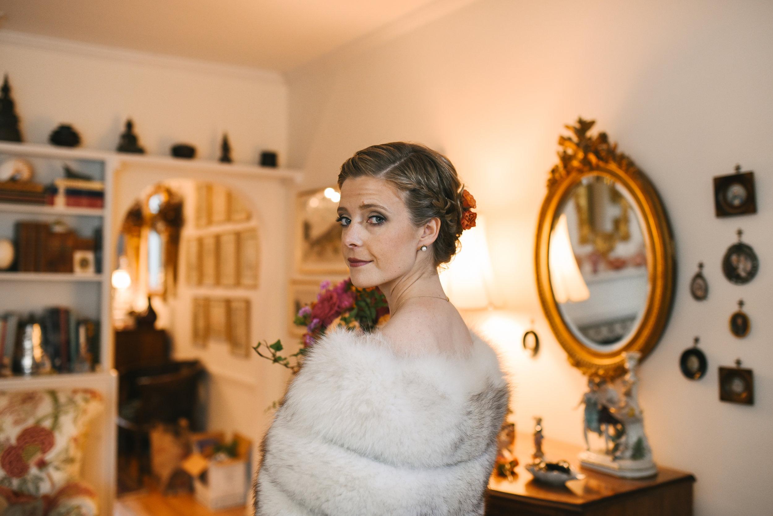 Alexandria, Virginia, Fall Wedding, Historic Wedding, Old Town, DC, Fur Wrap, Getting Ready, Rustic, Glam, The London Bob Hair Design, St. Paul's Episcopal Church