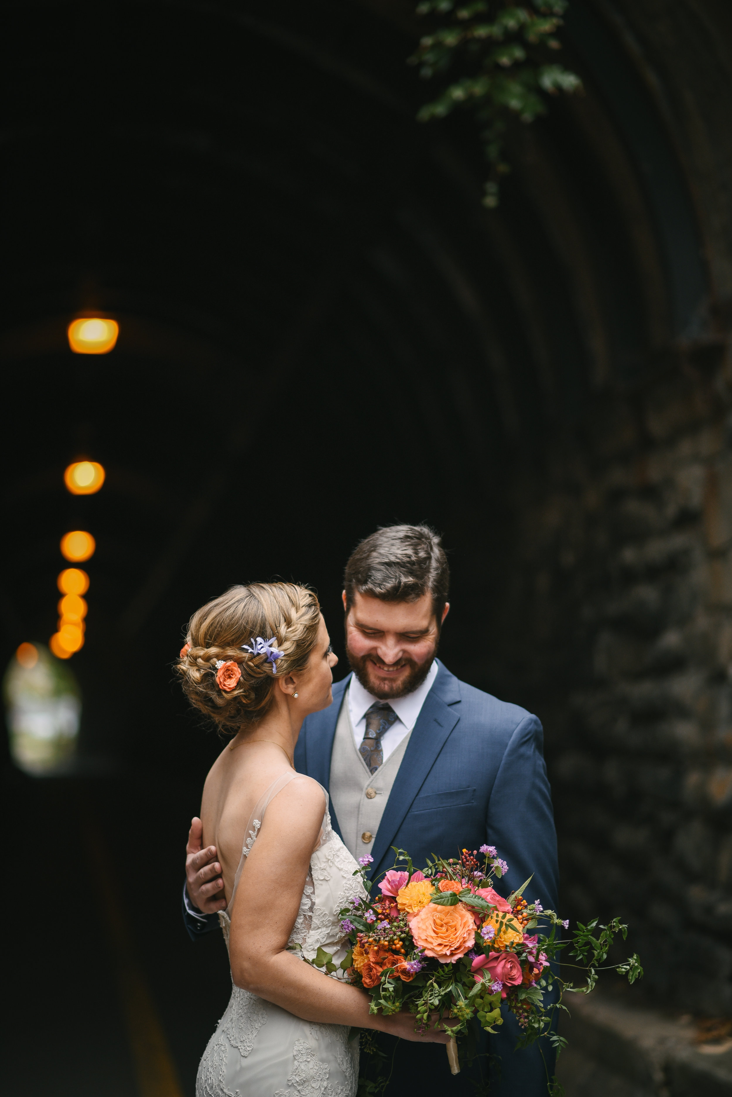 Alexandria, Virginia, Fall Wedding, Autumn, Historic Wedding, Old Town, DC, Wilkes Street Tunnel, Romantic, Lian Carlo Wedding Dress, Secluded Moments, The Enchanted Florist Bouquet