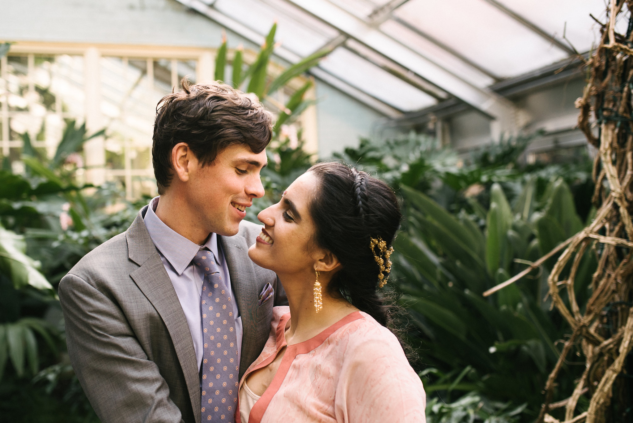 Elopement, Weekday Wedding, Baltimore, Rawlings Conservatory, Greenhouse, Maryland Wedding Photographer, Indian American, Nature, Romantic, Garden, Sweet Moments, Bride and Groom Portrait