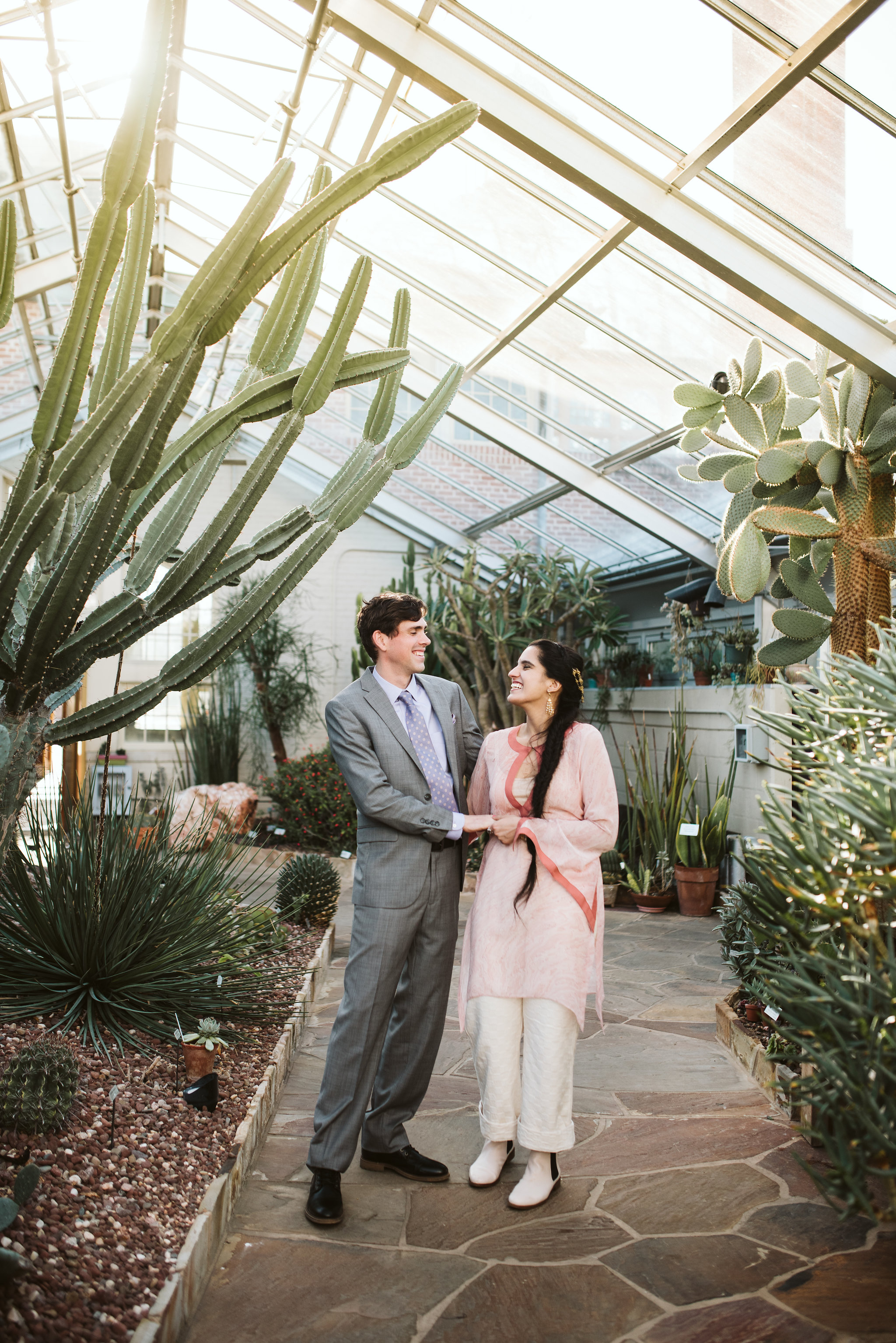 Elopement, Weekday Wedding, Baltimore, Rawlings Conservatory, Greenhouse, Maryland Wedding Photographer, Indian American, Nature, Romantic, Garden, Bride and Groom Laughing, Cactus