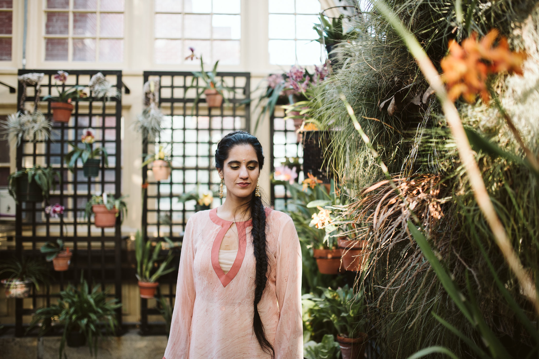 Elopement, Weekday Wedding, Baltimore, Rawlings Conservatory, Greenhouse, Maryland Wedding Photographer, Indian American, Nature, Romantic, Garden, Pink Sari, Bride Portrait, Bridal Hair, Braid