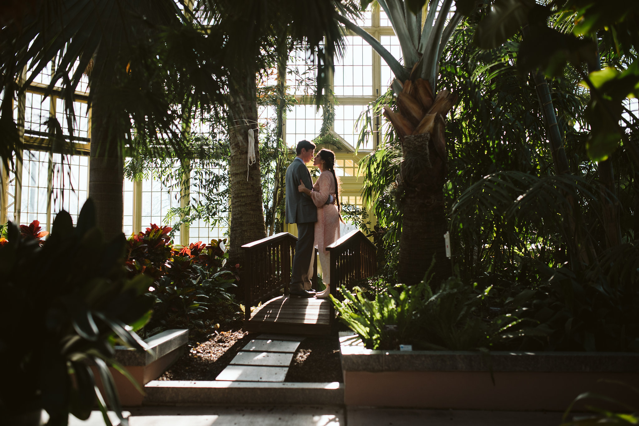Weekday Wedding, Baltimore, Rawlings Conservatory, Greenhouse, Maryland Wedding Photographer, Indian American, Nature, Romantic, Garden, Bride and Groom on Bridge, Forest Photo, Candid Photo