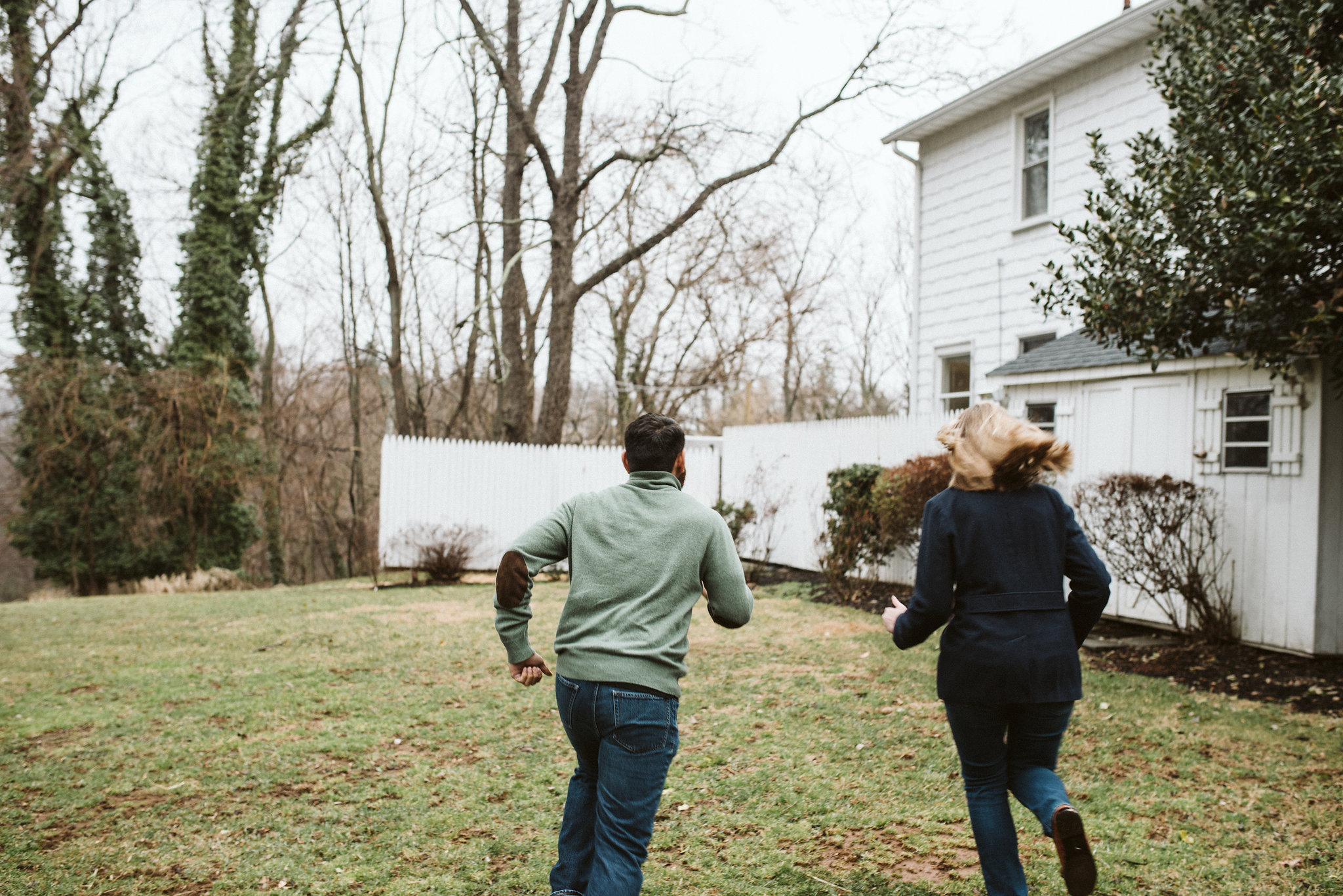 Engagement Photos, Ellicott City, Maryland Wedding Photographer, Winter, Overhills Mansion, Indian American, Historical, Classic, Outdoor, Bride and Groom Running
