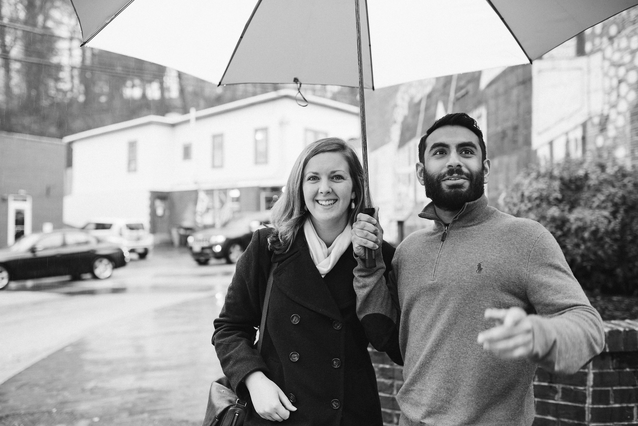 Engagement Photos, Rainy, Ellicott City, Maryland Wedding Photographer, Winter, Overhills Mansion, Indian American, Historical, Classic, Traditional, Outdoor, Black and White Photo