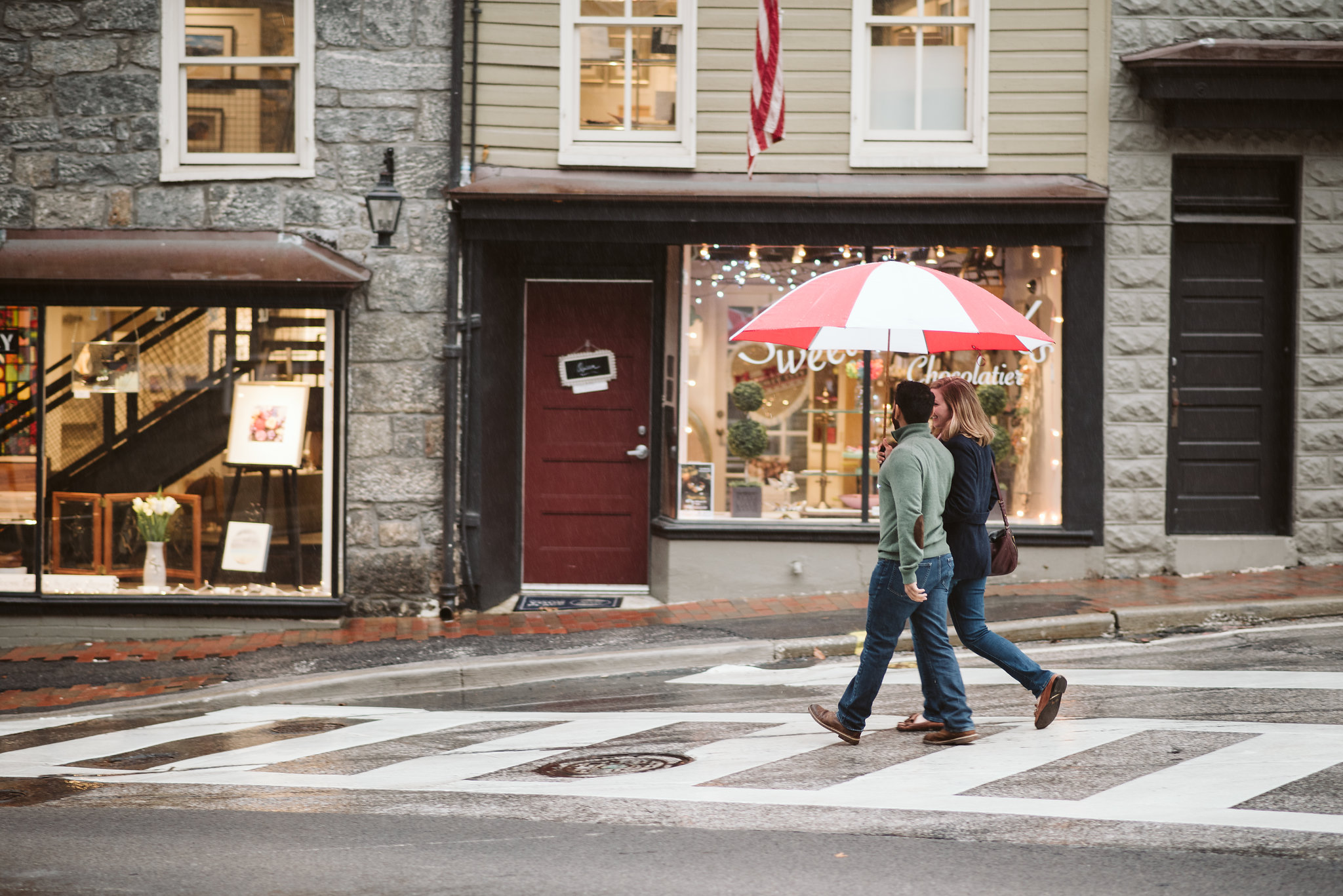 Engagement Photos, Rainy, Ellicott City, Maryland Wedding Photographer, Winter, Historical, Classic, Traditional, Outdoor, Bride and Groom Walking Downtown, Walking in the Rain