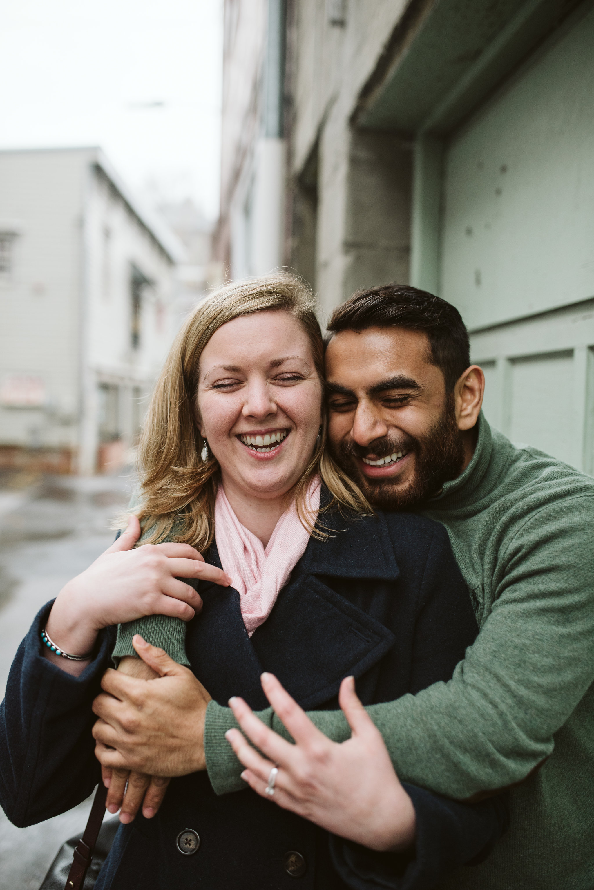 Engagement Photos, Rainy, Ellicott City, Maryland Wedding Photographer, Winter, Overhills Mansion, Indian American, Historical, Classic, Traditional, Outdoor, Bride and Groom Laughing