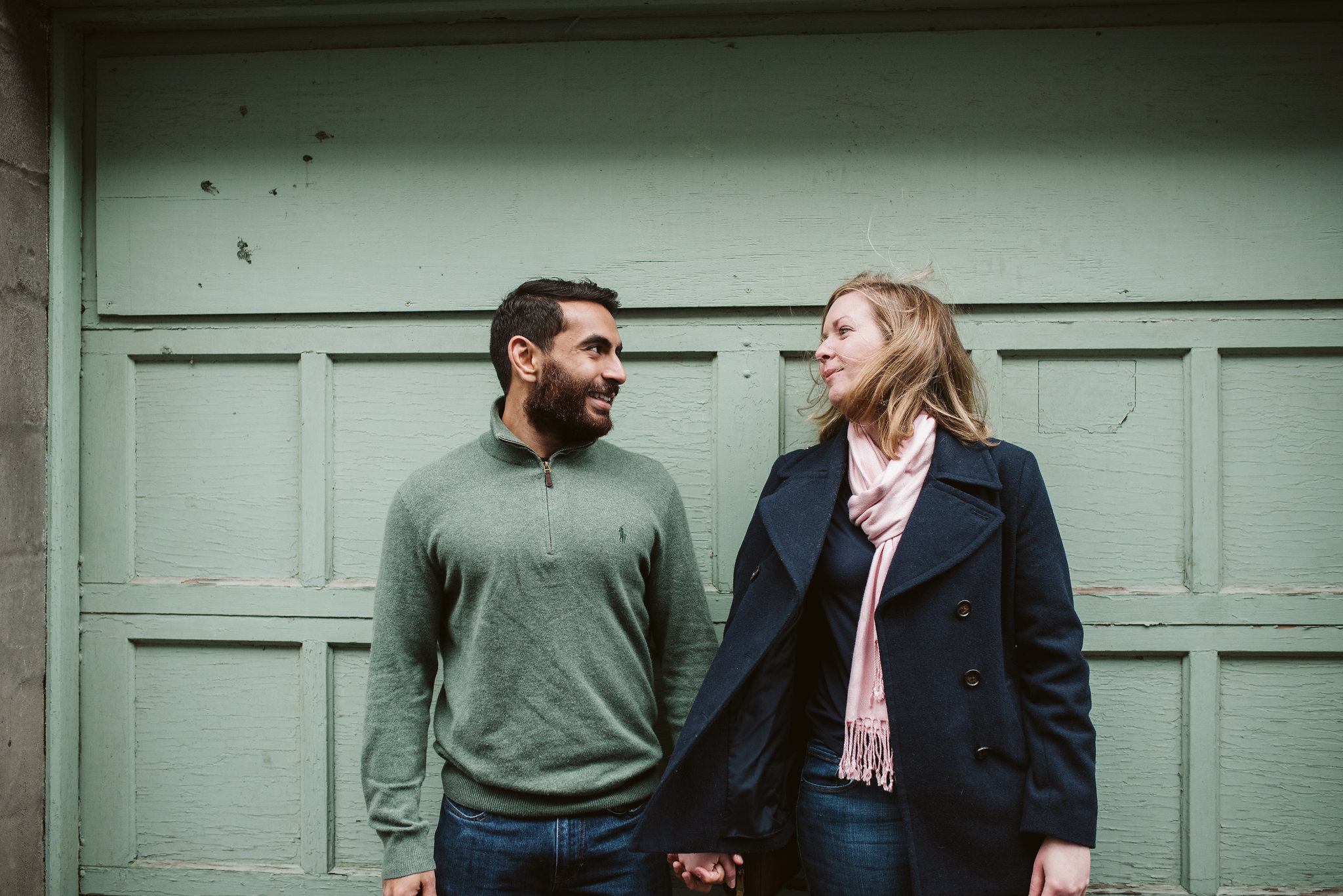 Engagement Photos, Rainy, Ellicott City, Maryland Wedding Photographer, Winter, Indian American, Traditional, Outdoor, Bride and Groom, Fun Background