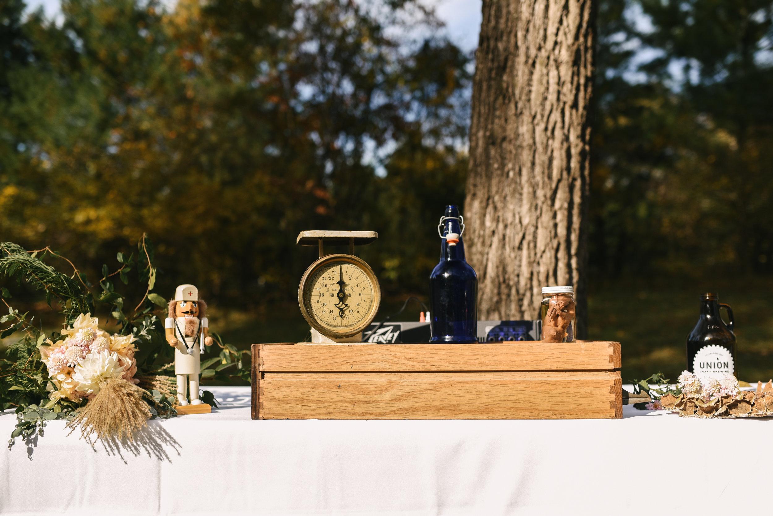 Baltimore, Maryland Wedding Photographer, Backyard Wedding, DIY, Rustic, Casual, Fall Wedding, Woodland, Table pf Decor at Reception, Crooked Fence Farm